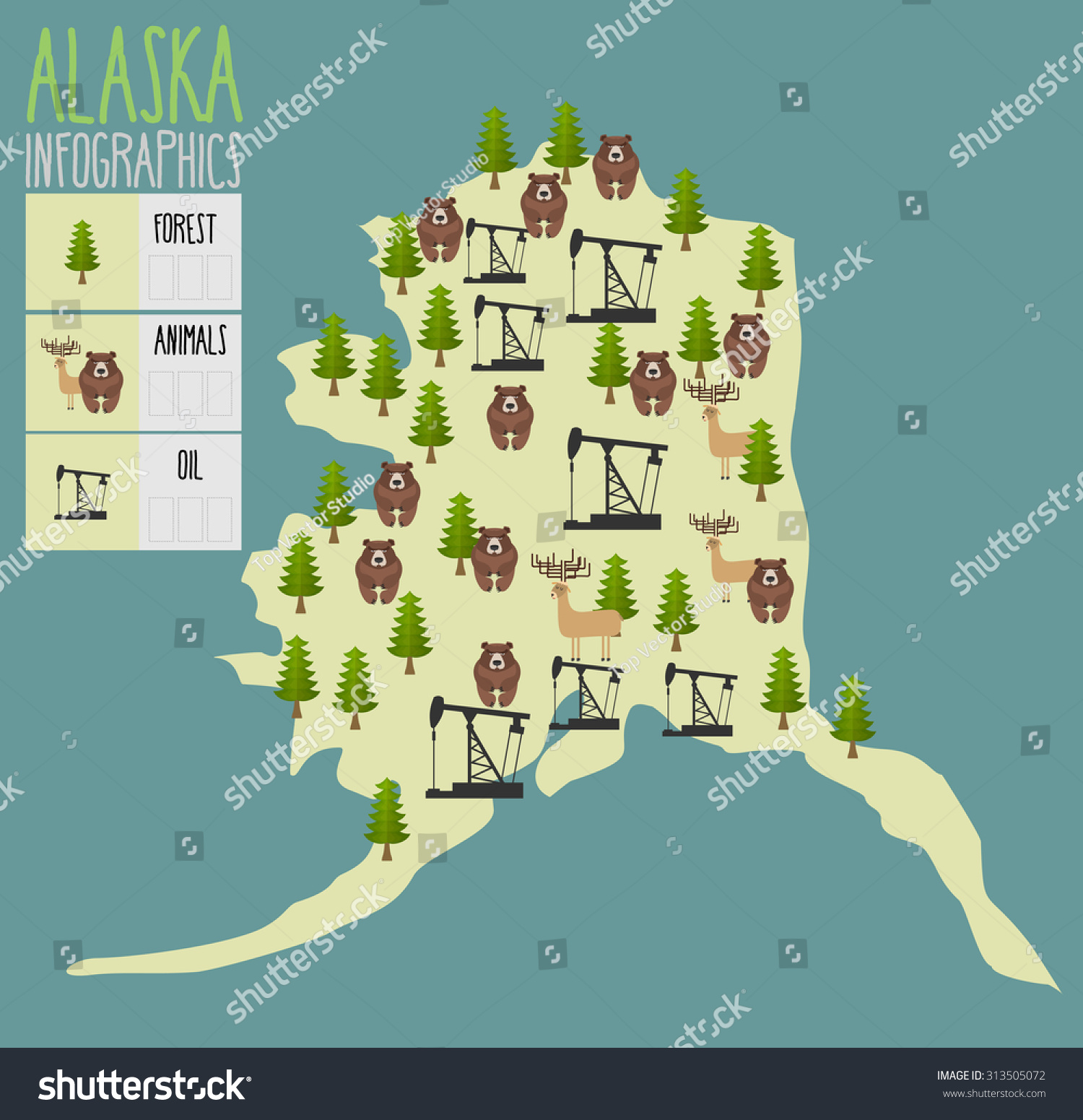 Map Of Texas Natural Resources.Alaska Map Natural Resources Oil Wood Stock Ilustrace 313505072