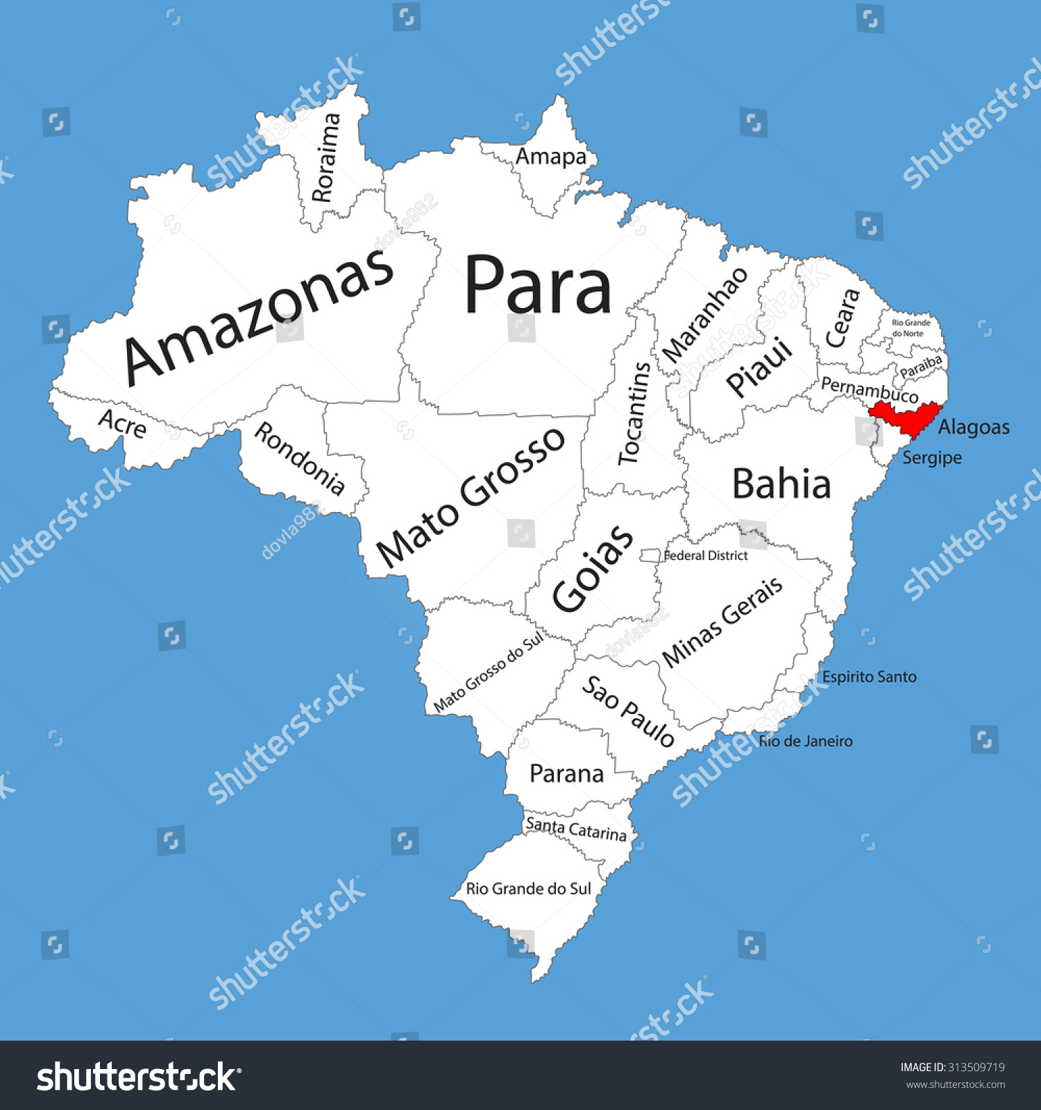 Alagoas brazil vector map isolated on stock photo photo vector alagoas brazil vector map isolated on brazil map editable vector map of brazil gumiabroncs Image collections