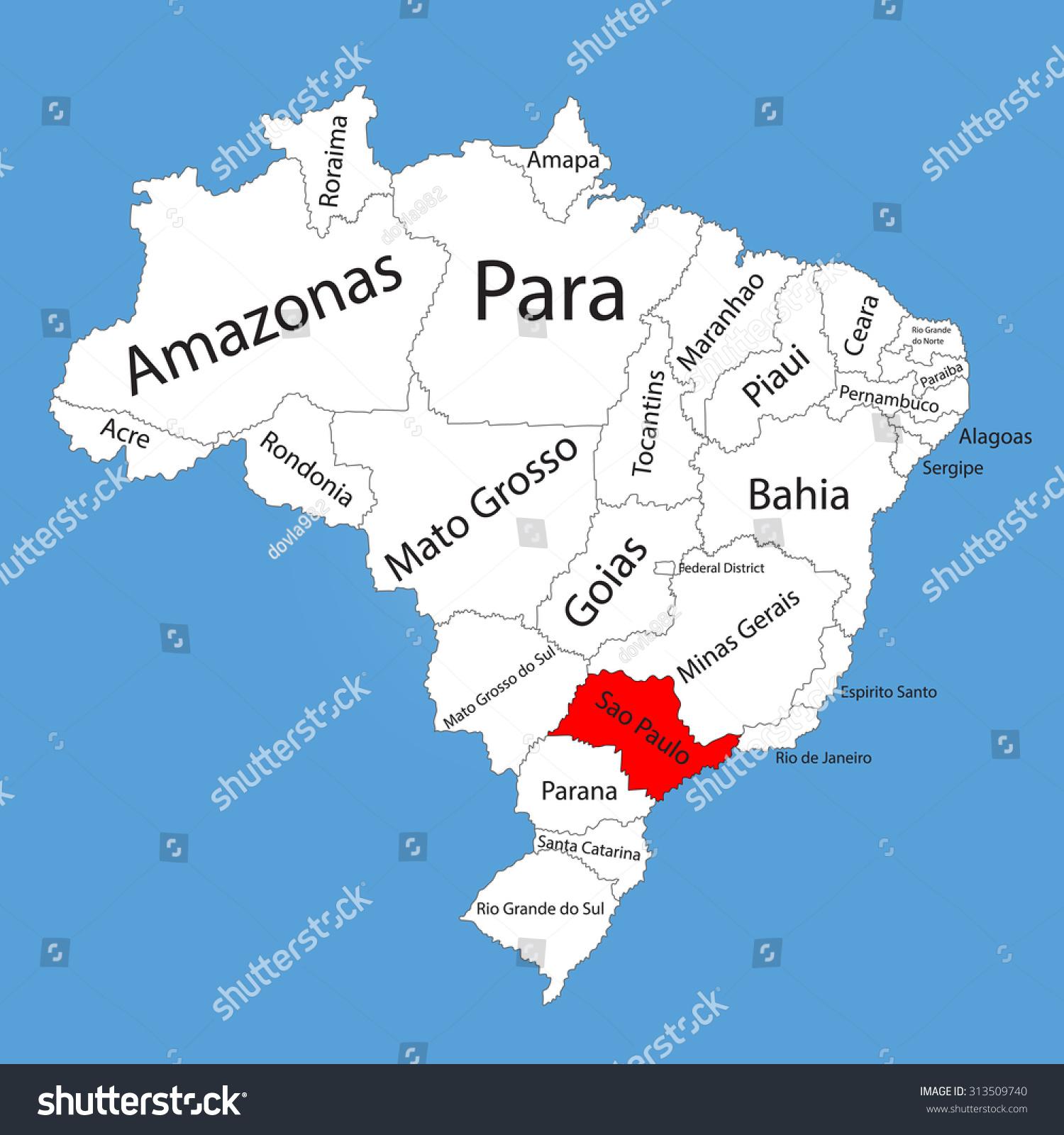 Sao Paulo Brazil Vector Map Isolated Stock Vektorgrafik