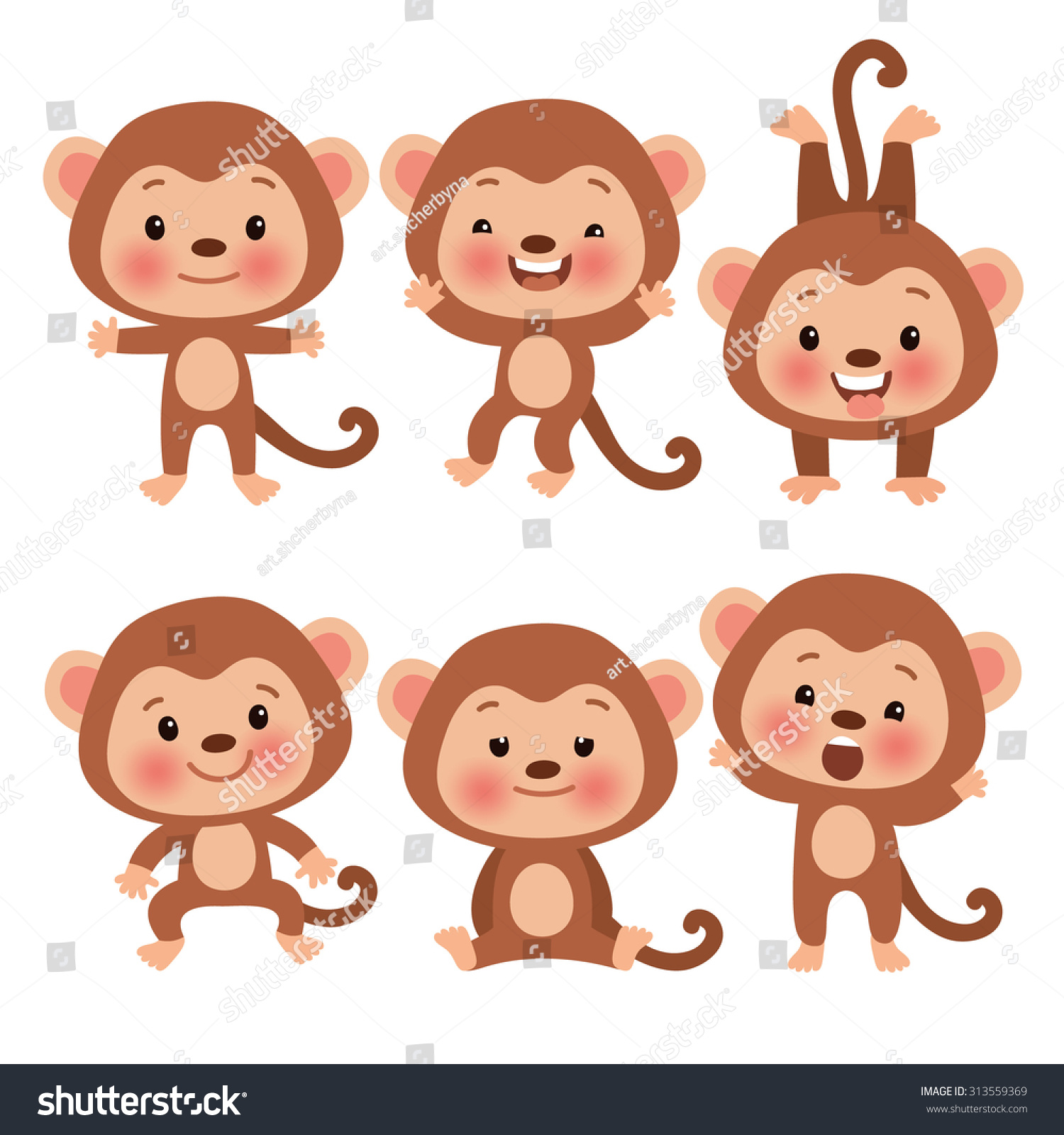 royalty free set of cute funny monkeys in a cartoon 313559369
