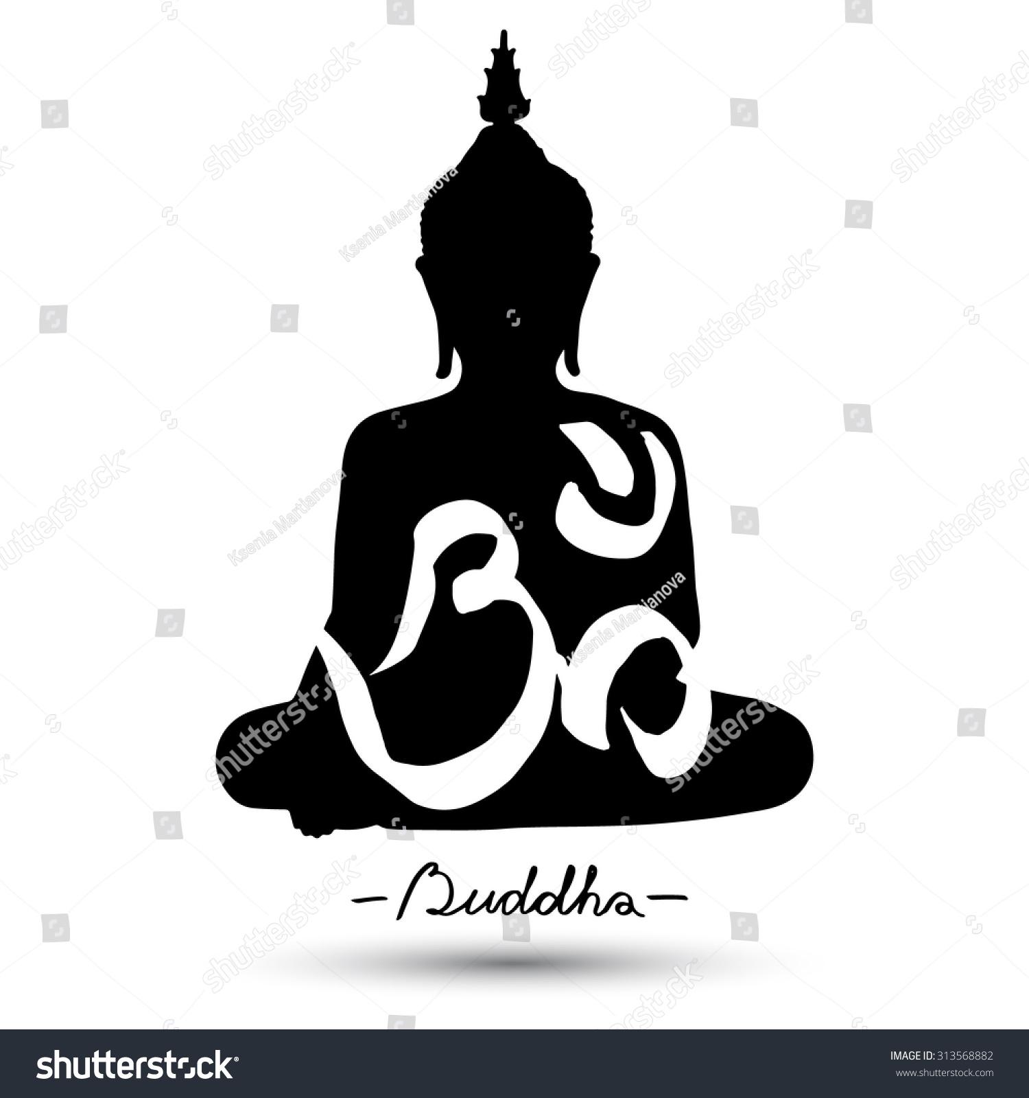 Sitting Buddha Om Symbol Isolated On Stock Vector Royalty Free