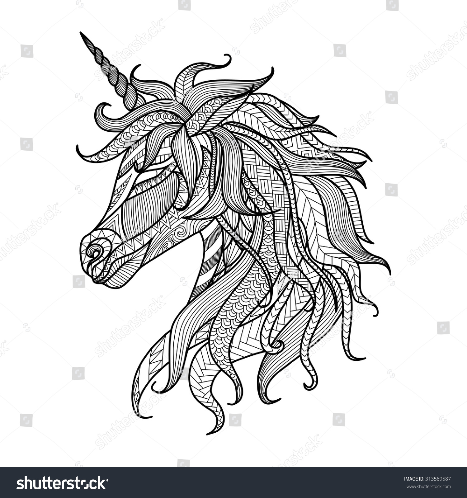 The coloring book tattoo - Drawing Unicorn Zentangle Style For Coloring Book Tattoo Shirt Design Logo Sign