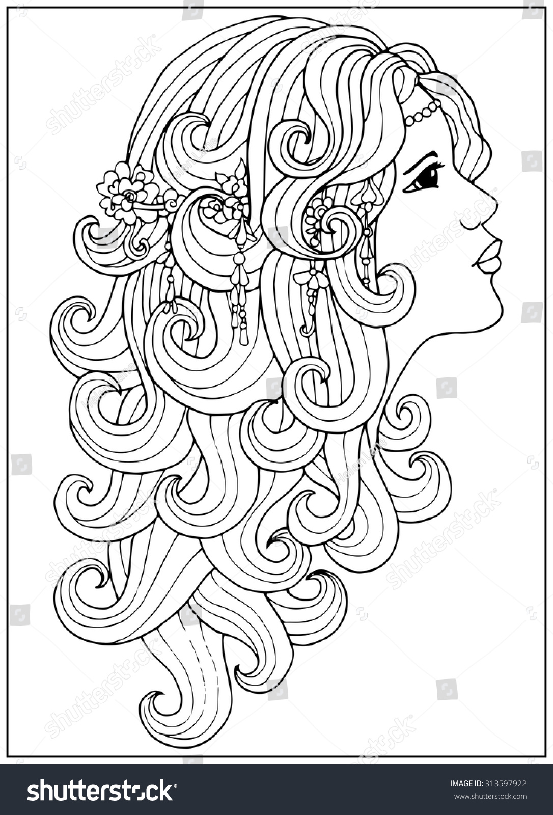 Coloring Page With Girl With Long Curly Hair Stock Vector