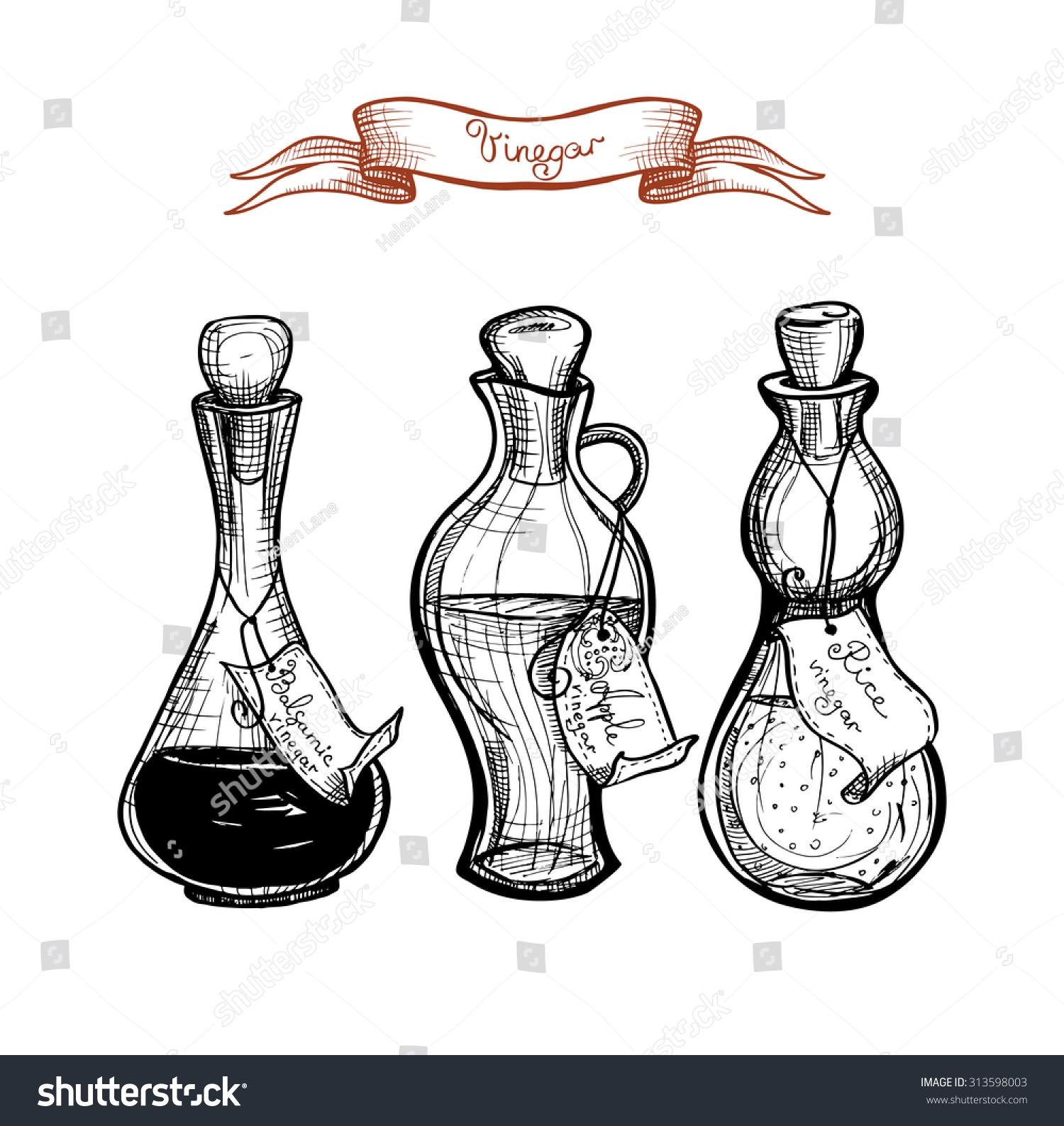 Three glass vintage bottle apple cider stock vector 313598003 three glass vintage bottle with apple cider vinegar rice vinegar balsamic vinegar biocorpaavc Gallery
