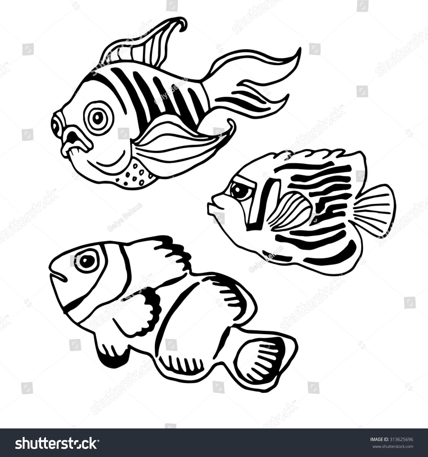 Coloring Book Fish Hand Drawn Vector