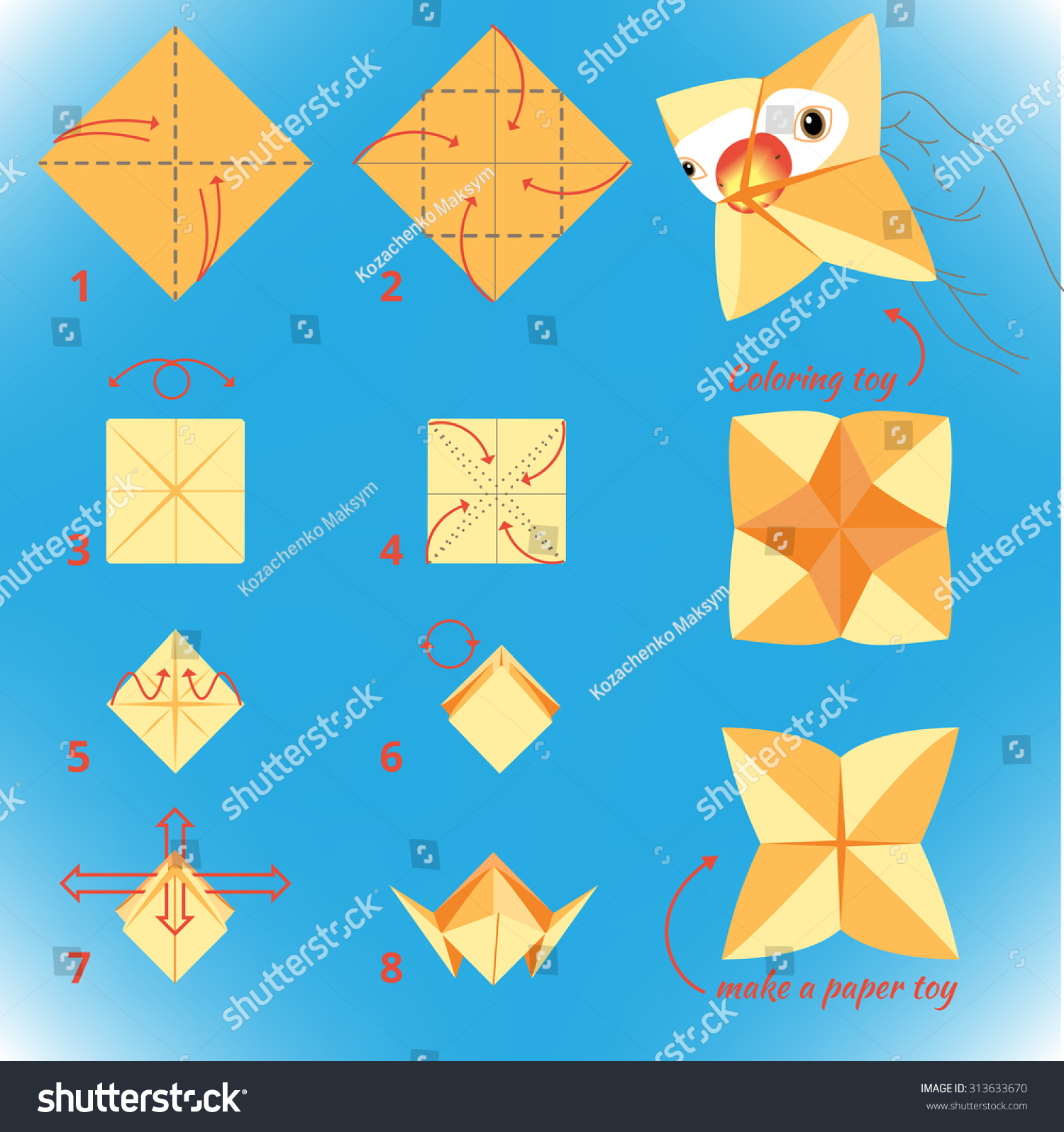 Instructions How Make Paper Bird Origami Stock Vector ... - photo#35
