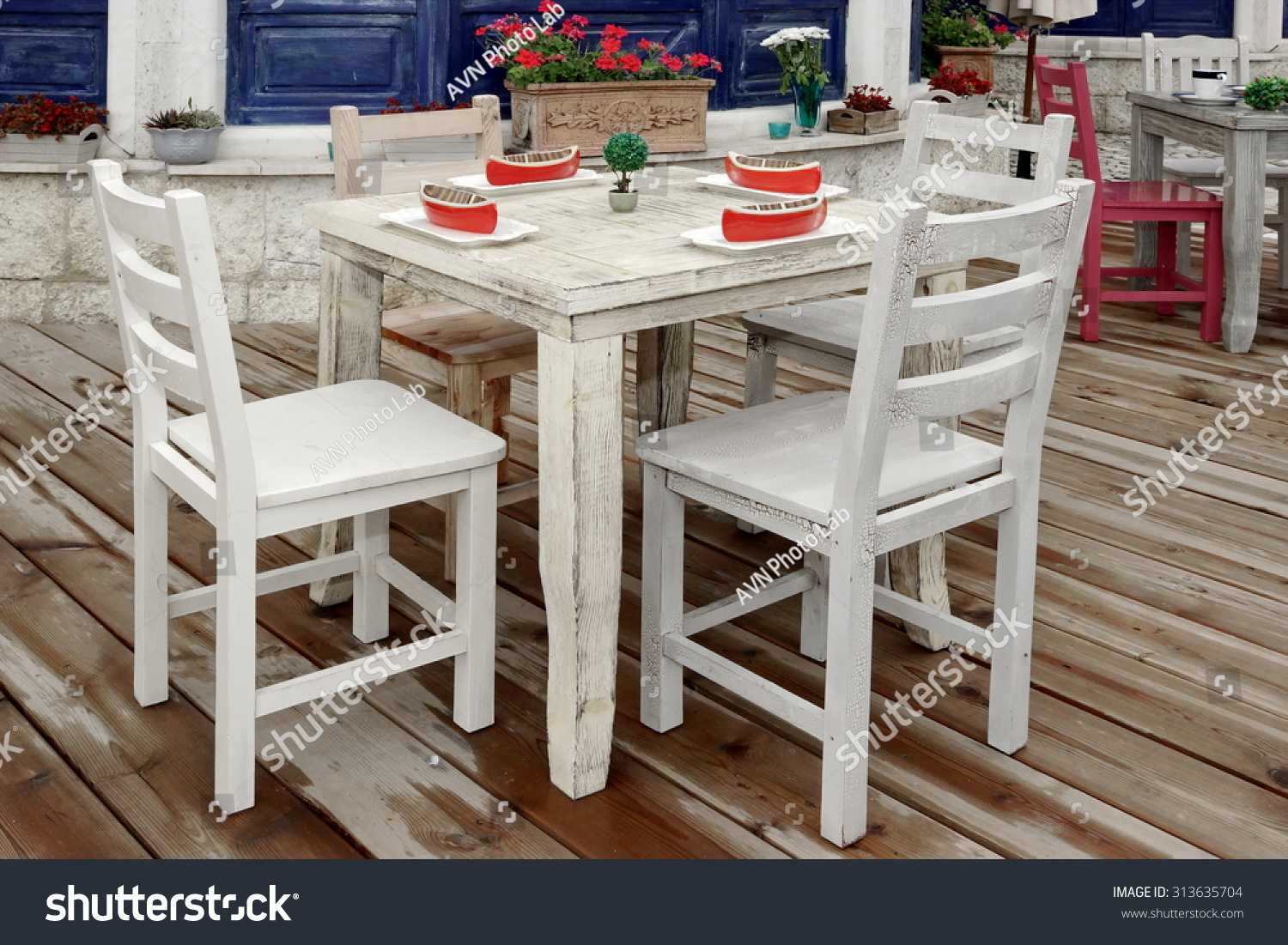 Vintage White Wooden Dining Table Chairs Stock Photo Edit Now 313635704