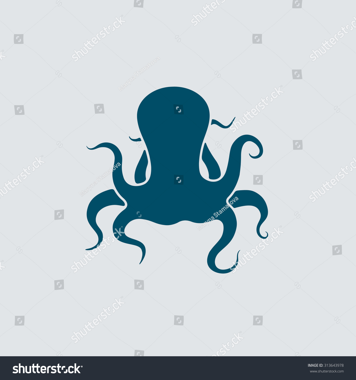 Vector Illustration Octopus Template Logos Labels Stock Vector ...