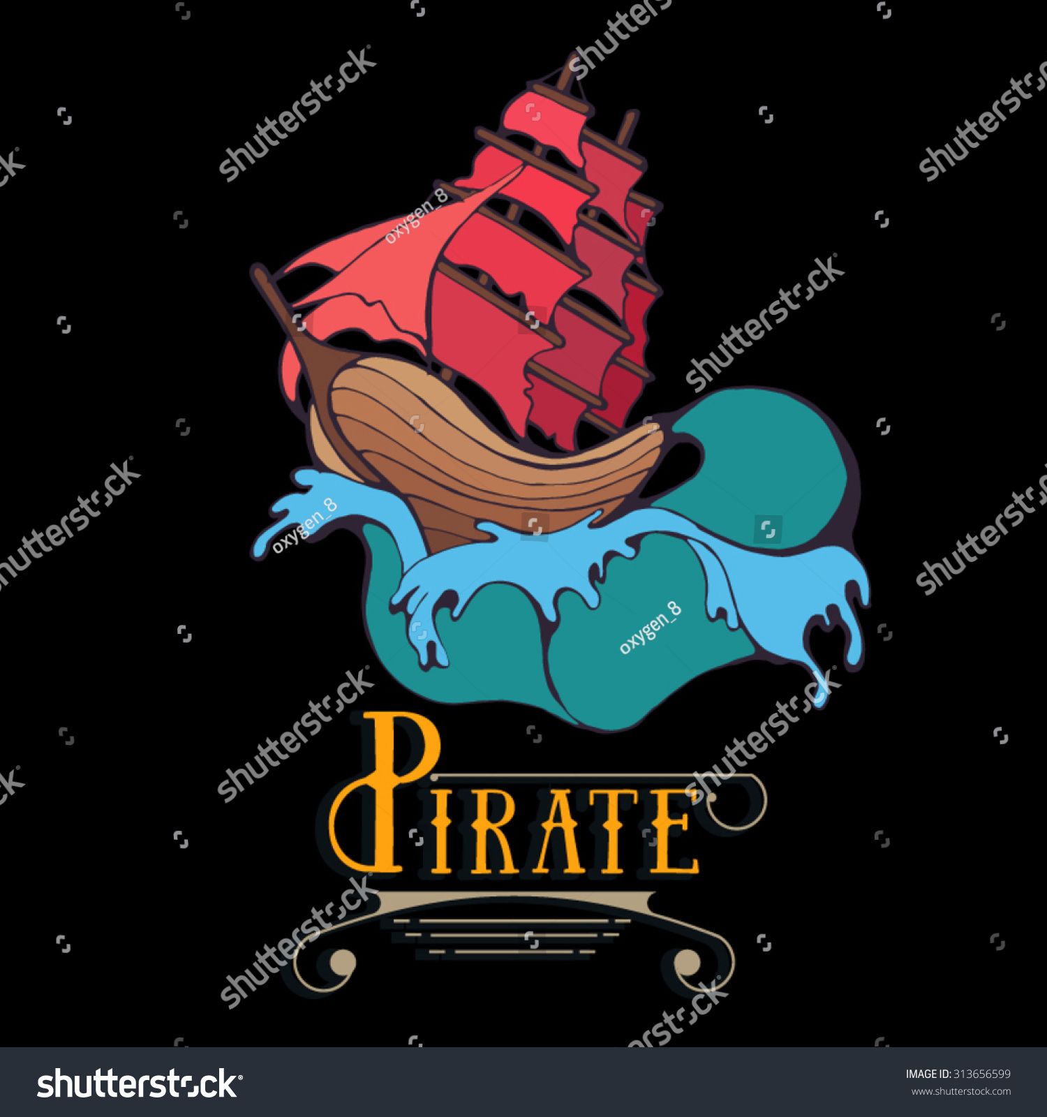 Silhouette Pirate Ship Waves Sail Label Stock Vector
