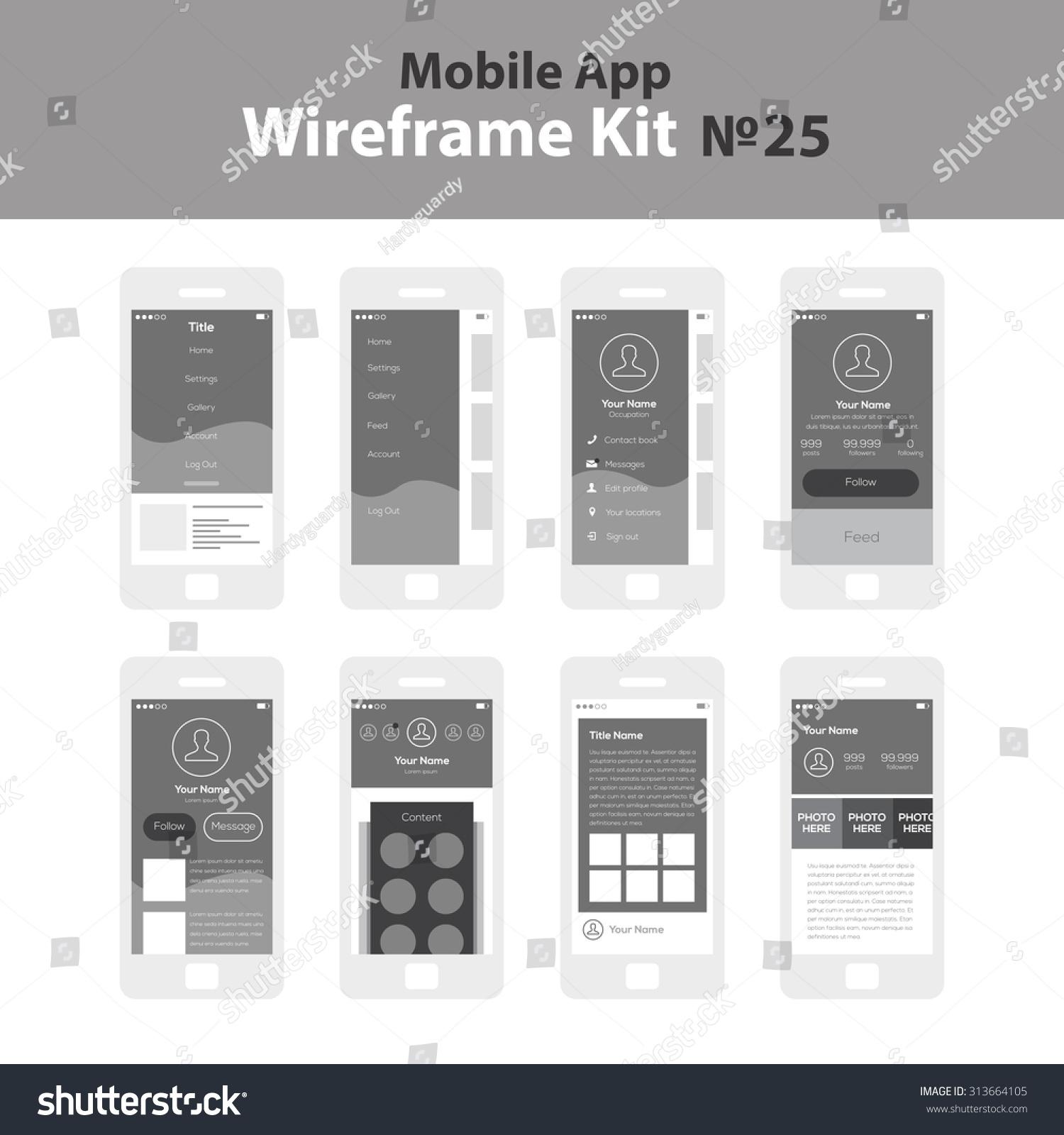 Image Info App Stock Vector Mobile Wireframe App Ui Kit Swipe