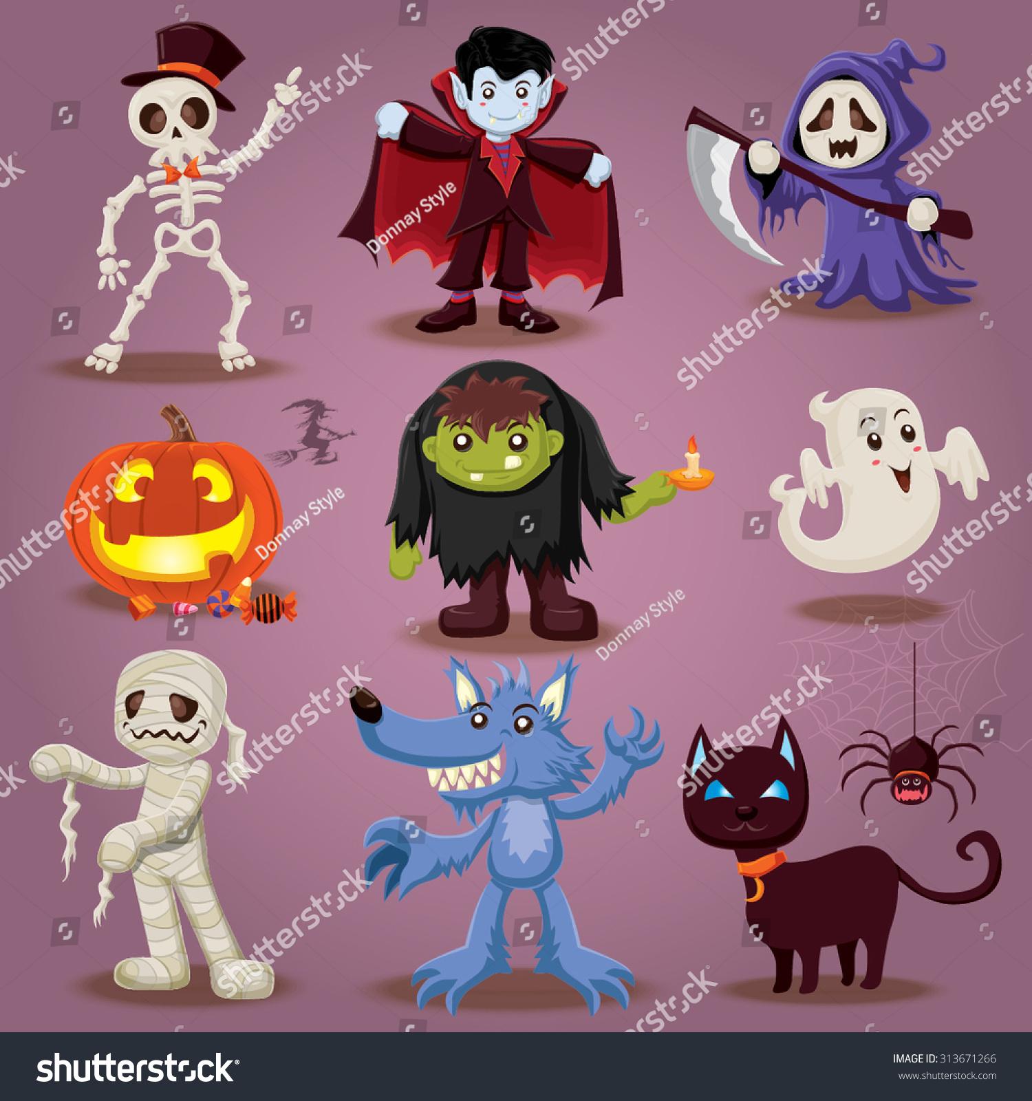 Halloween Character Design Challenge : Vintage halloween character design 스톡 벡터