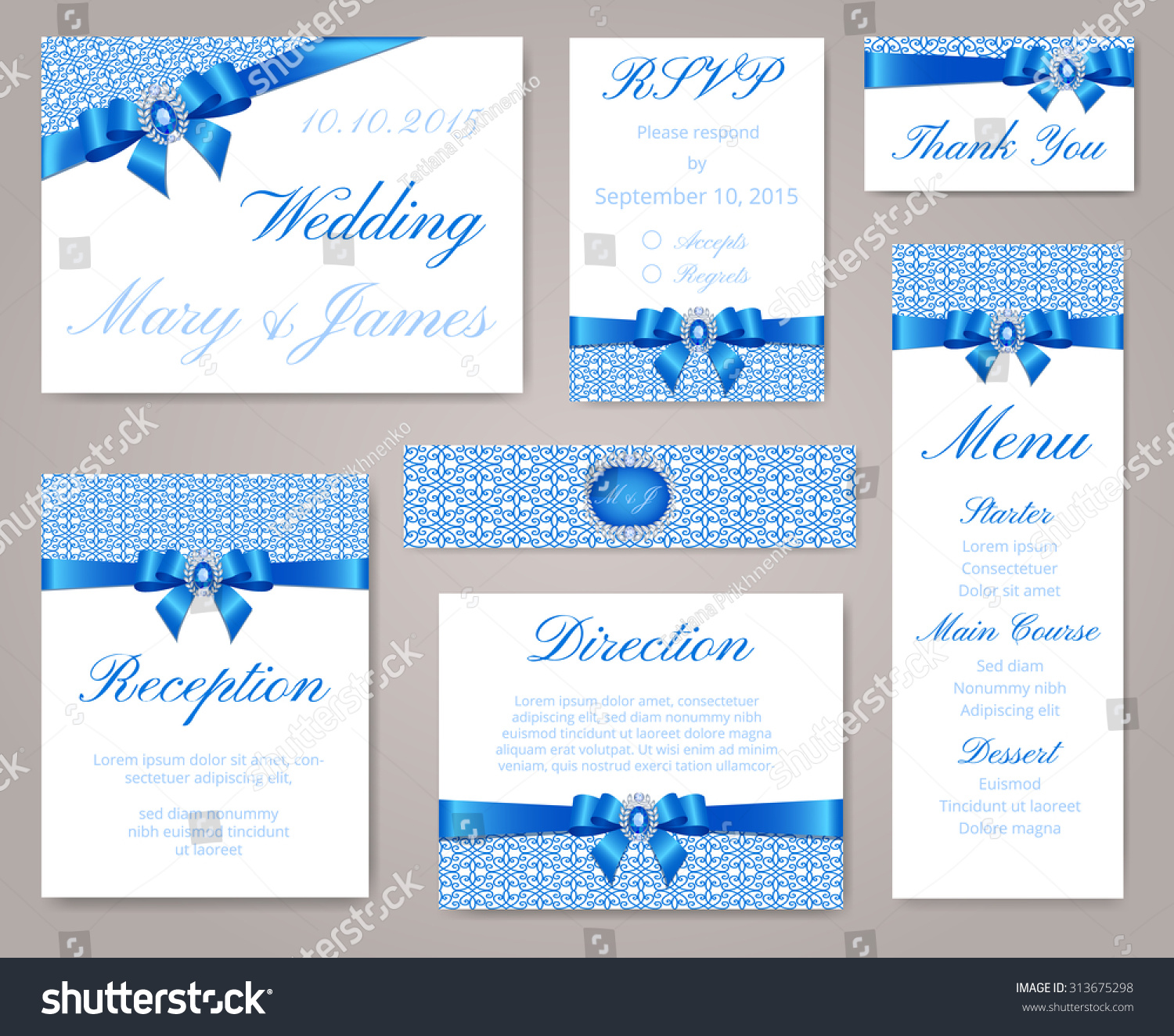 Wedding invitation template set lace border imagem vetorial de banco wedding invitation template set with lace border blue bow and sapphire brooch stopboris Images
