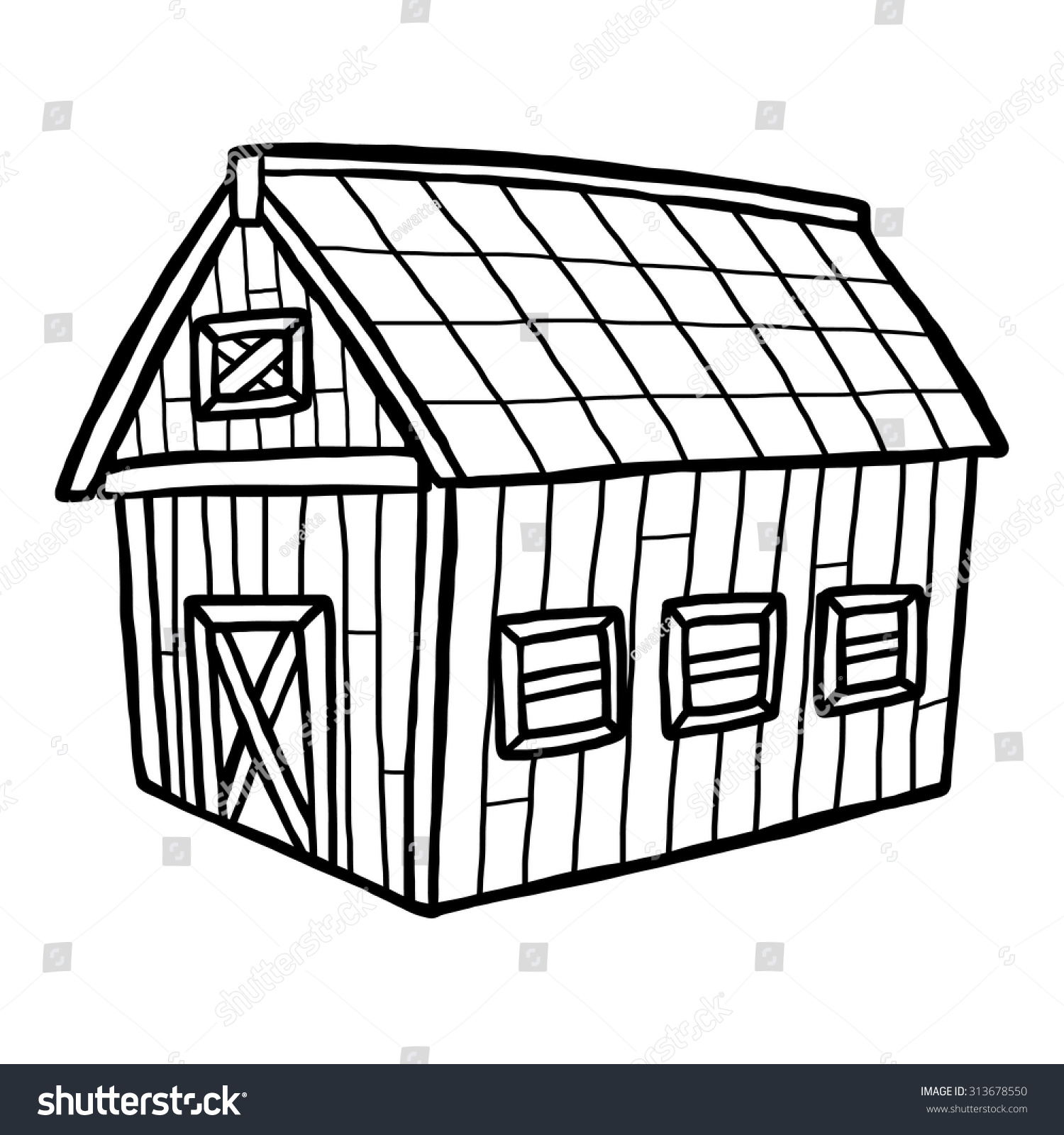 Cartoon Barn Black And White Barn House Cartoon Vector And