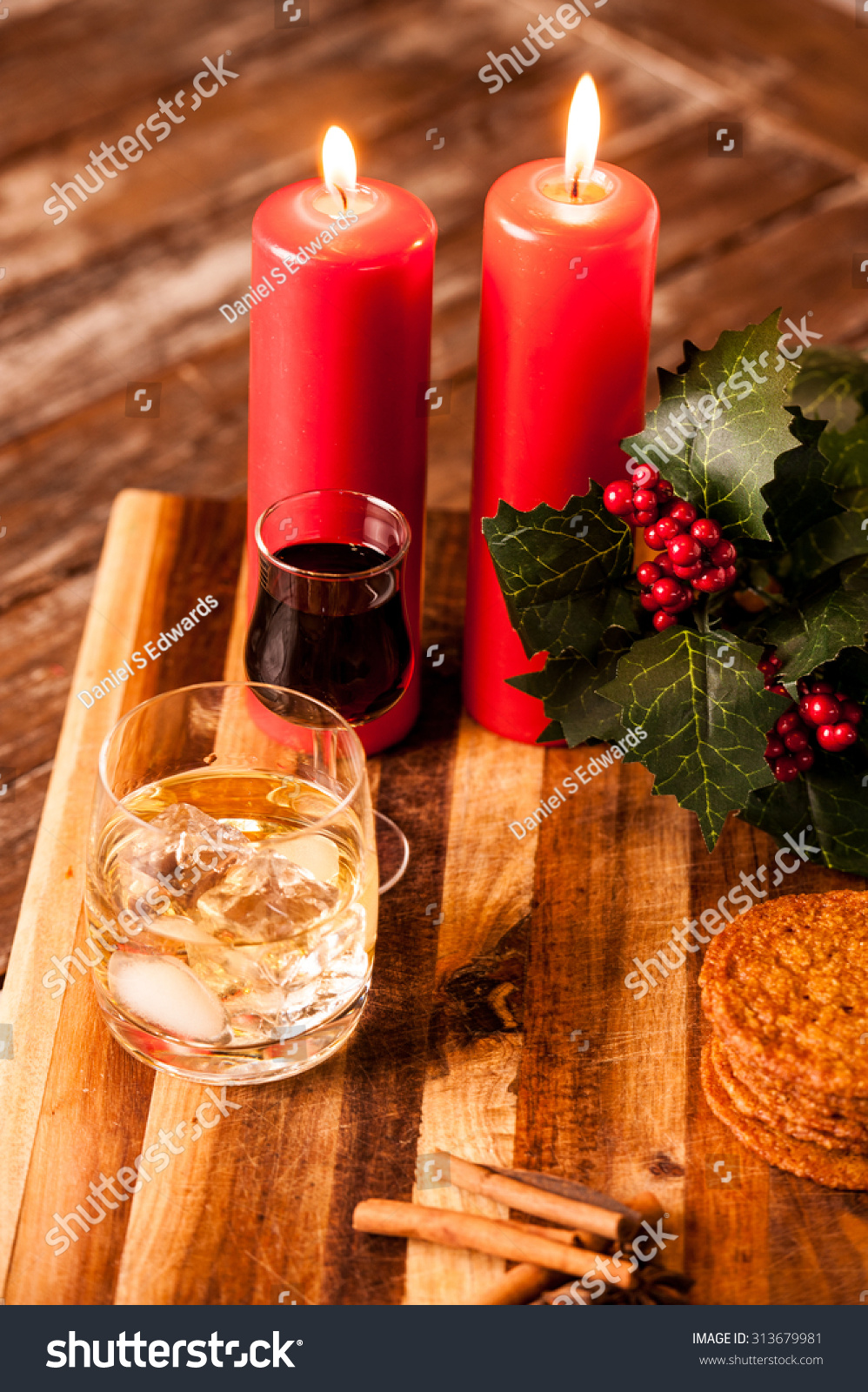 selection of christmas snacks and decorations on a wooden table - Christmas Eve Snacks