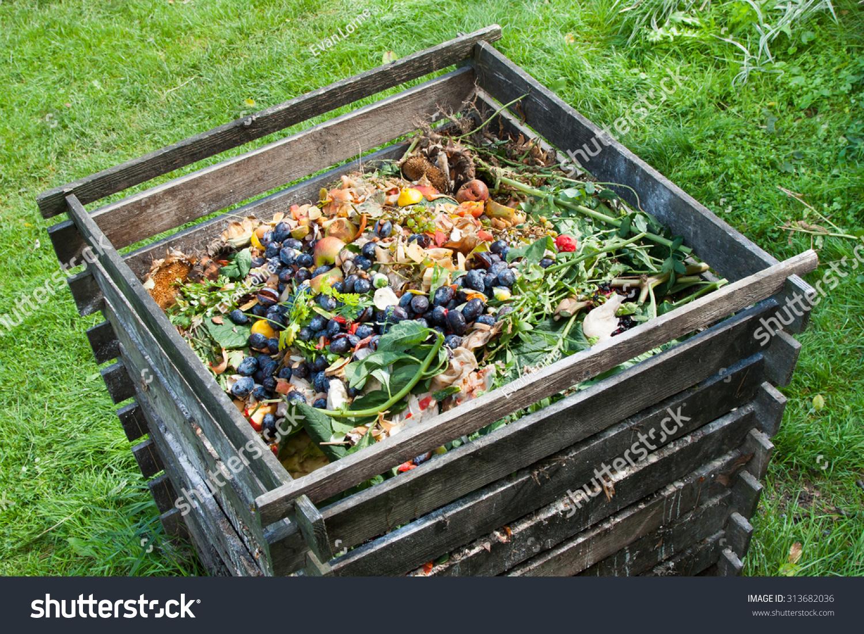 Compost Bin Garden Composting Pile Rotting Stock Photo