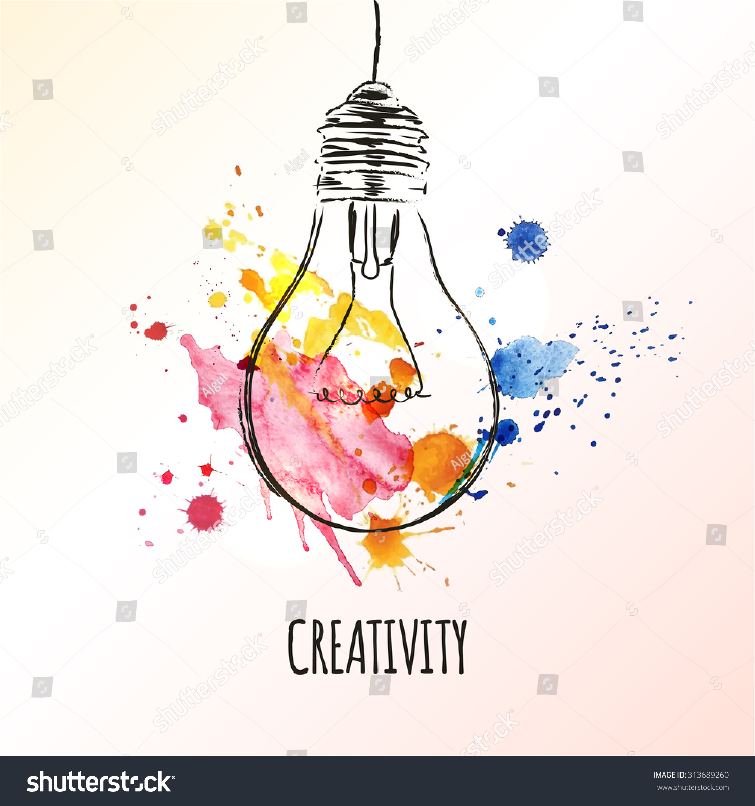 Creativity Concept Light Bulb Watercolor Splashes Stock