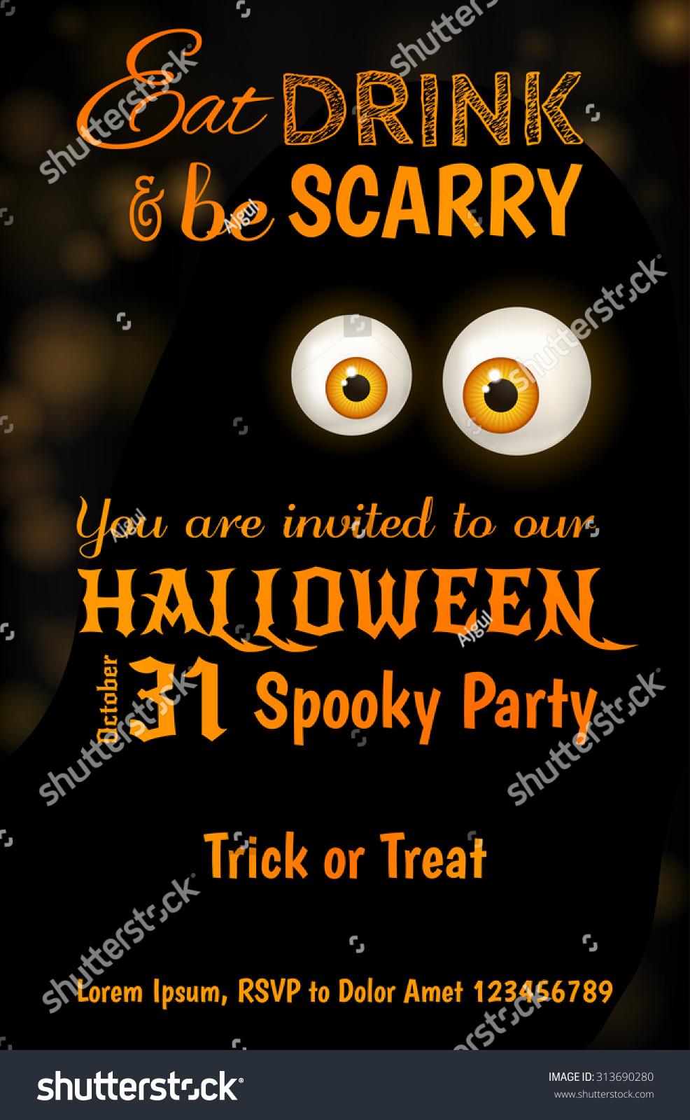 Invitation Design Halloween Party Scary Big Stock Vector 313690280 ...