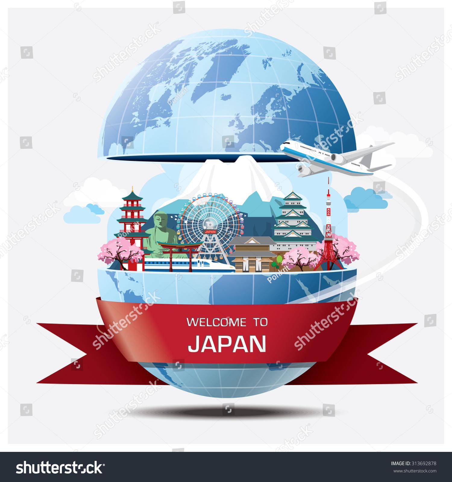 japan travel brochure template - japan landmark global travel journey infographic stock
