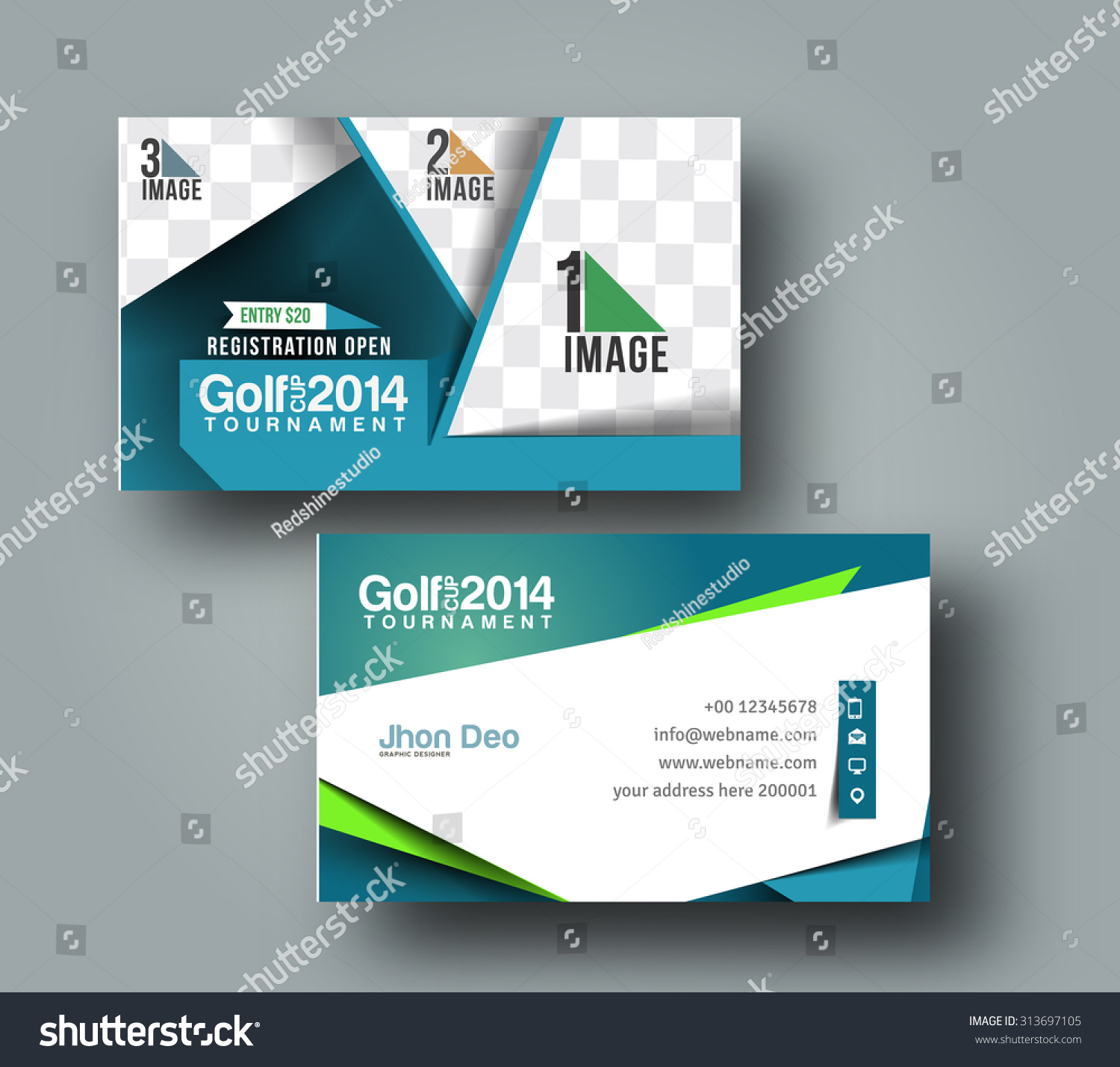Golf Club Business Card Vector Template Stock Vector 313697105 ...