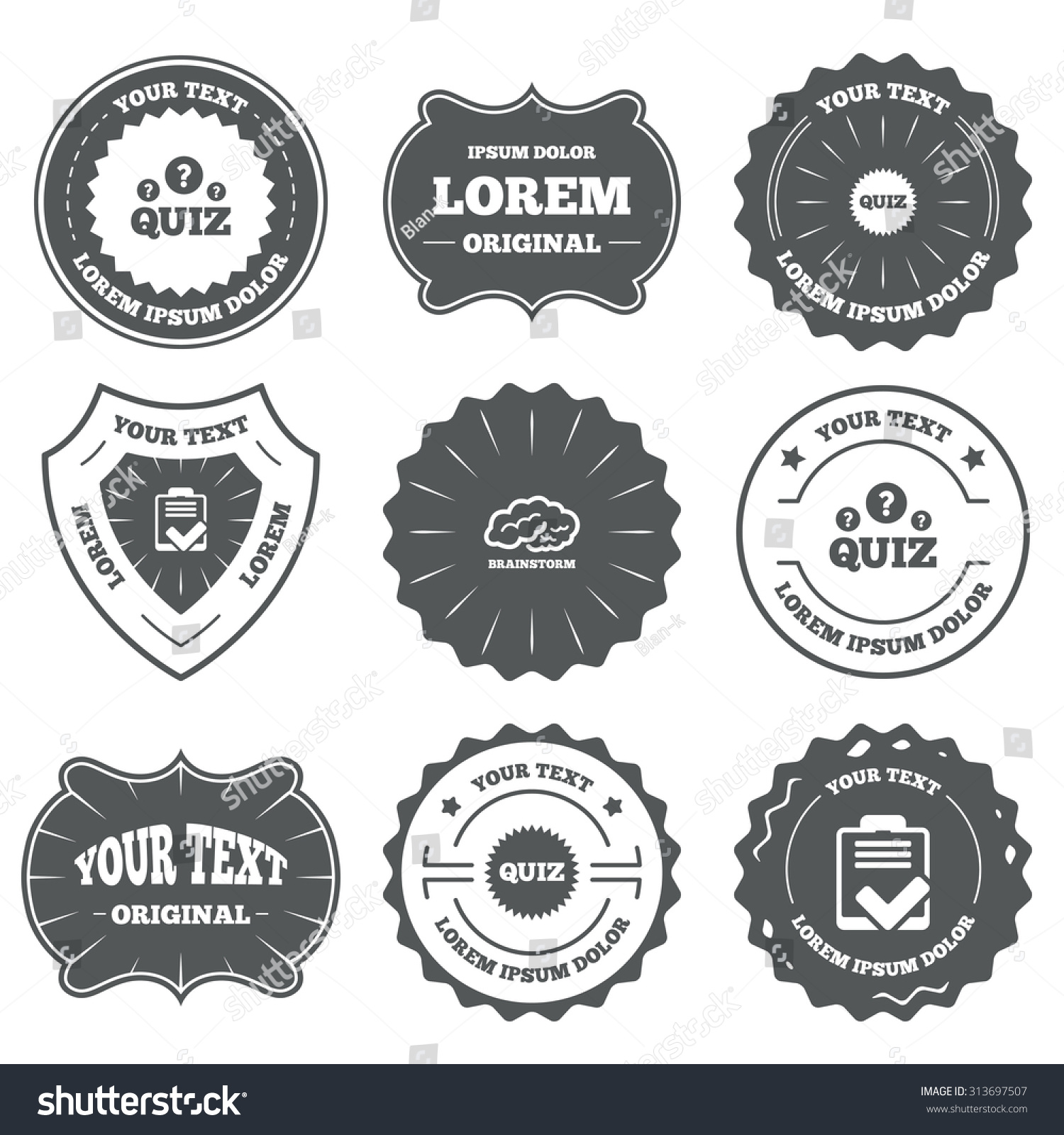 Vintage Emblems Labels Quiz Icons Brainstorm Stock Vector HD