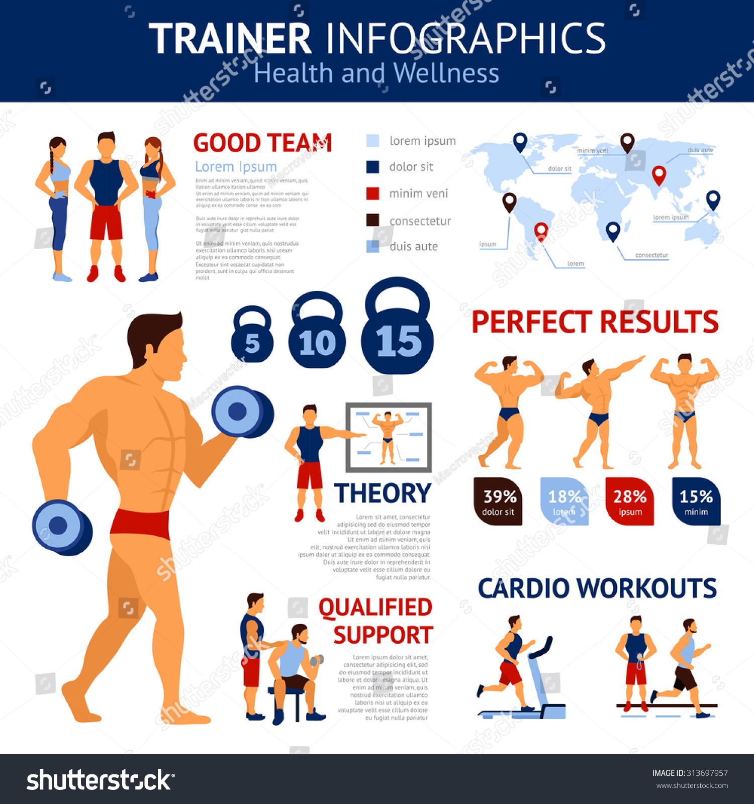 Trainer Infographics Set With Sport Workout Symbols And