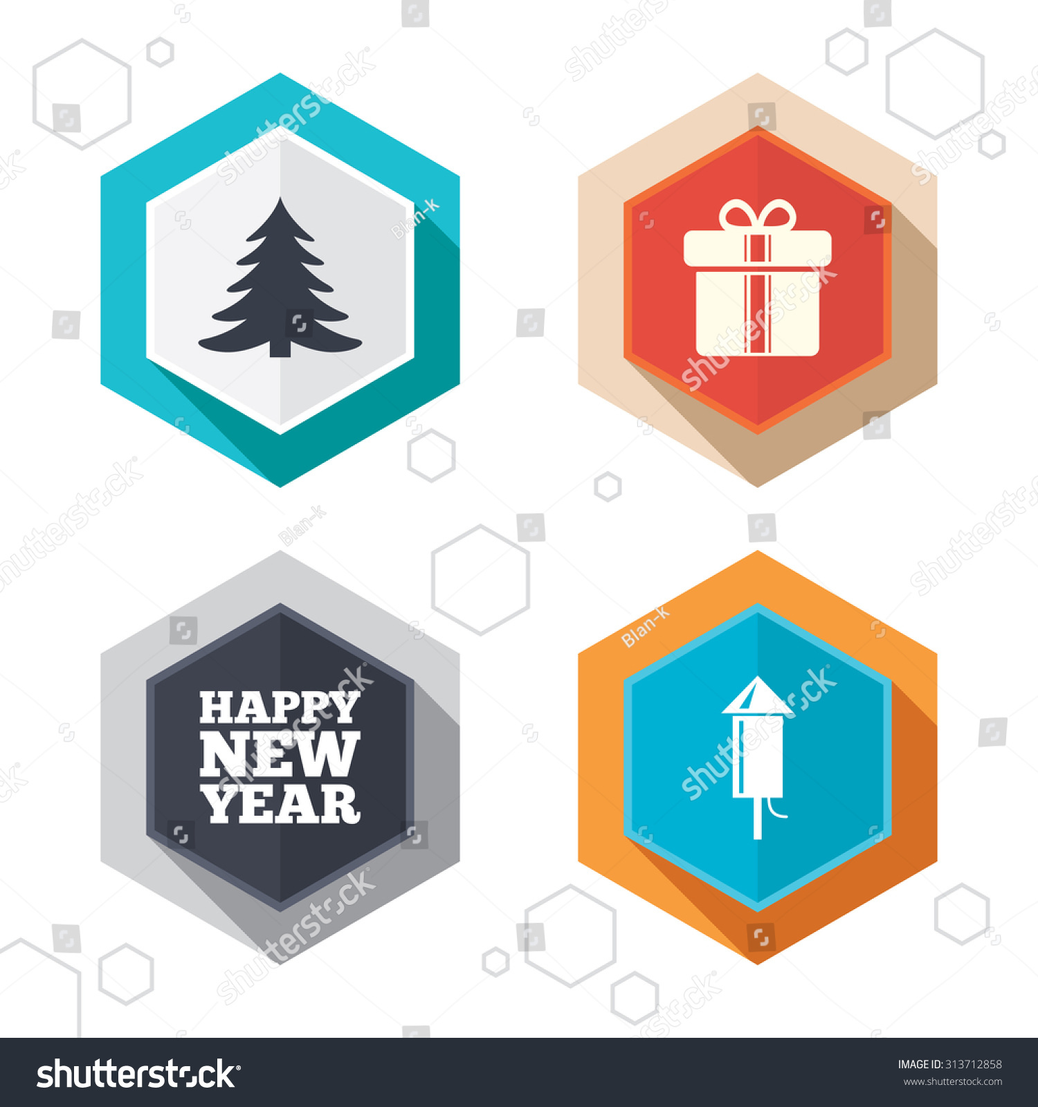 happy new year icon christmas tree and gift box signs fireworks