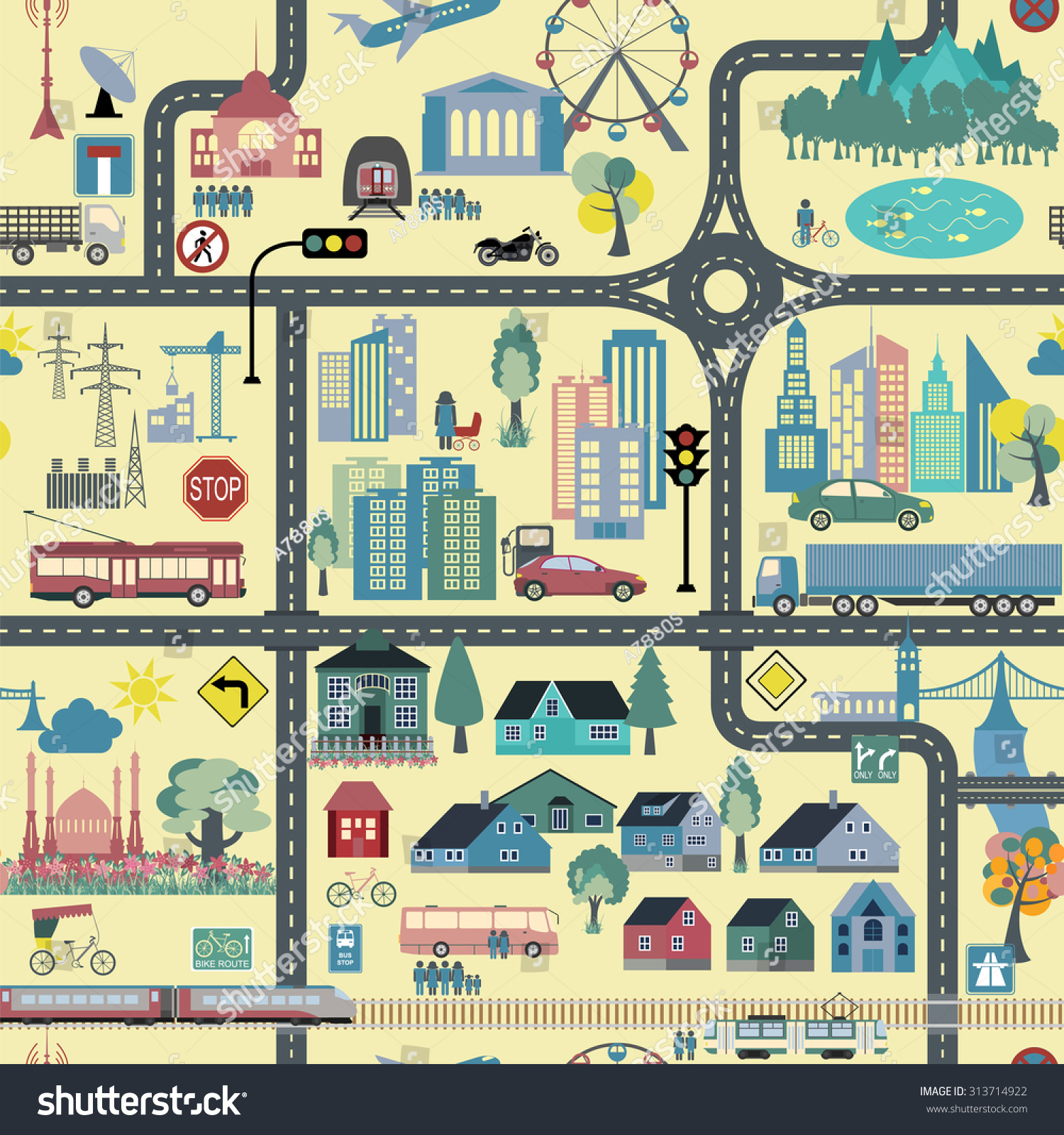 City Map Generator City Map Example Stock Vector 313714922 ...
