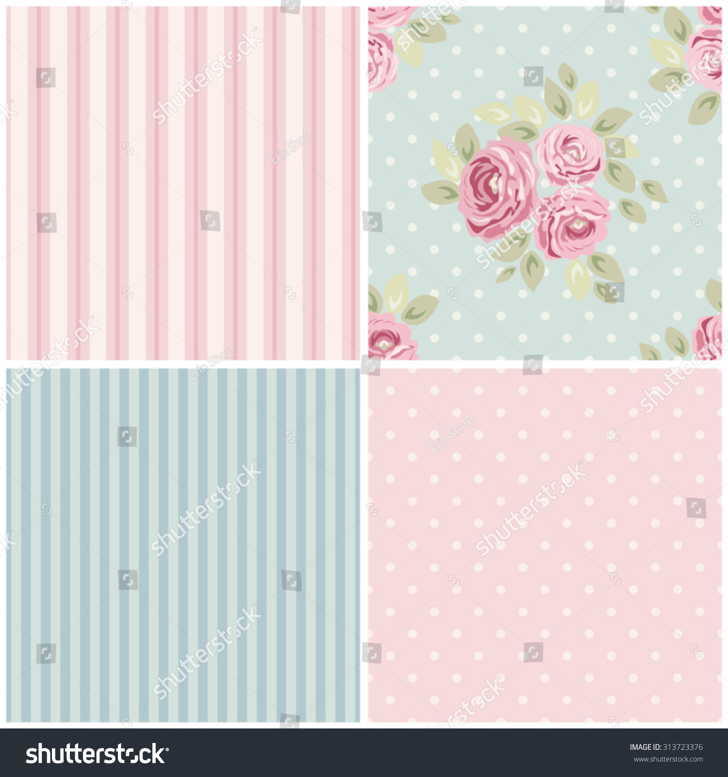 Royalty-free Set of cute seamless Shabby Chic… #313723376 Stock ...