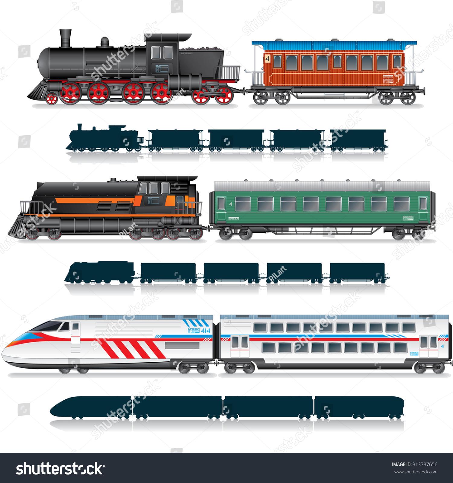 Variety Vintage Modern Passenger Train Vector Stock Vector ...