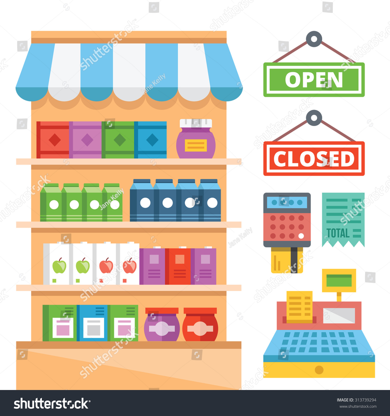 General Store Stock Photos General Store Stock Images: Supermarket Shelves General Store Equipment Flat Stock