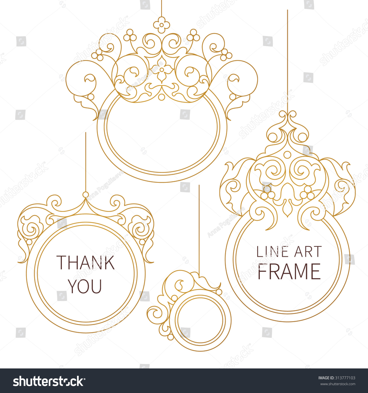 Line Art Thank You : Vector decorative line art frames for design template
