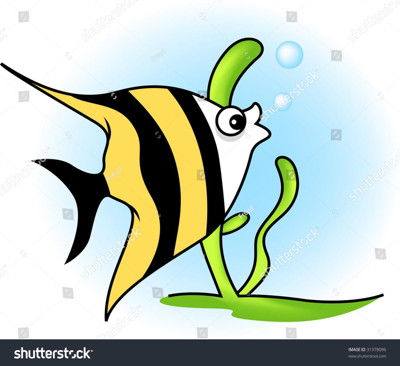 Uncategorized Cartoon Angel Fish angel fish swimming underwater plant behind stock illustration behind