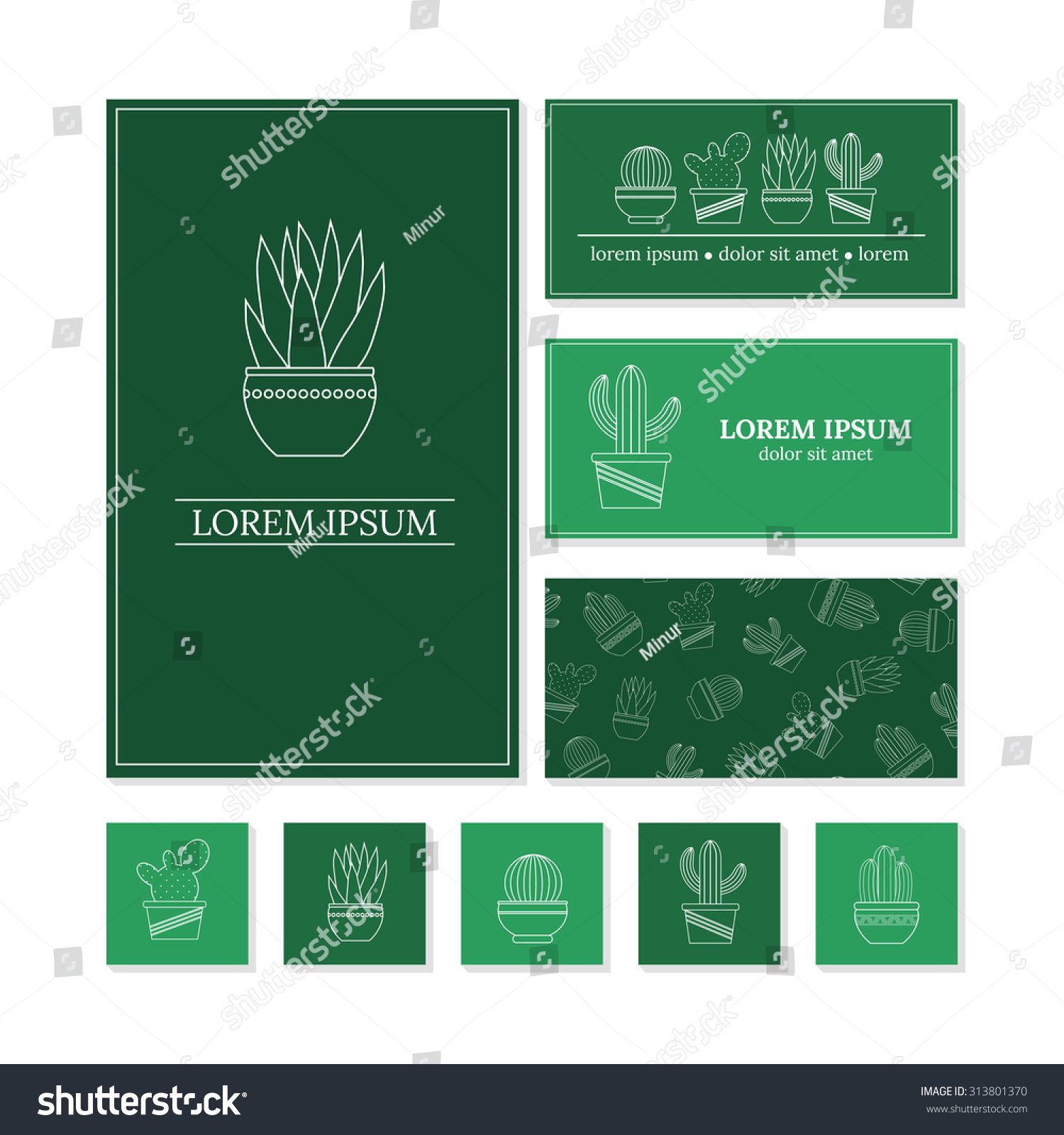 Business Card Templates Outline Cactuses Succulents Stock Vector ...