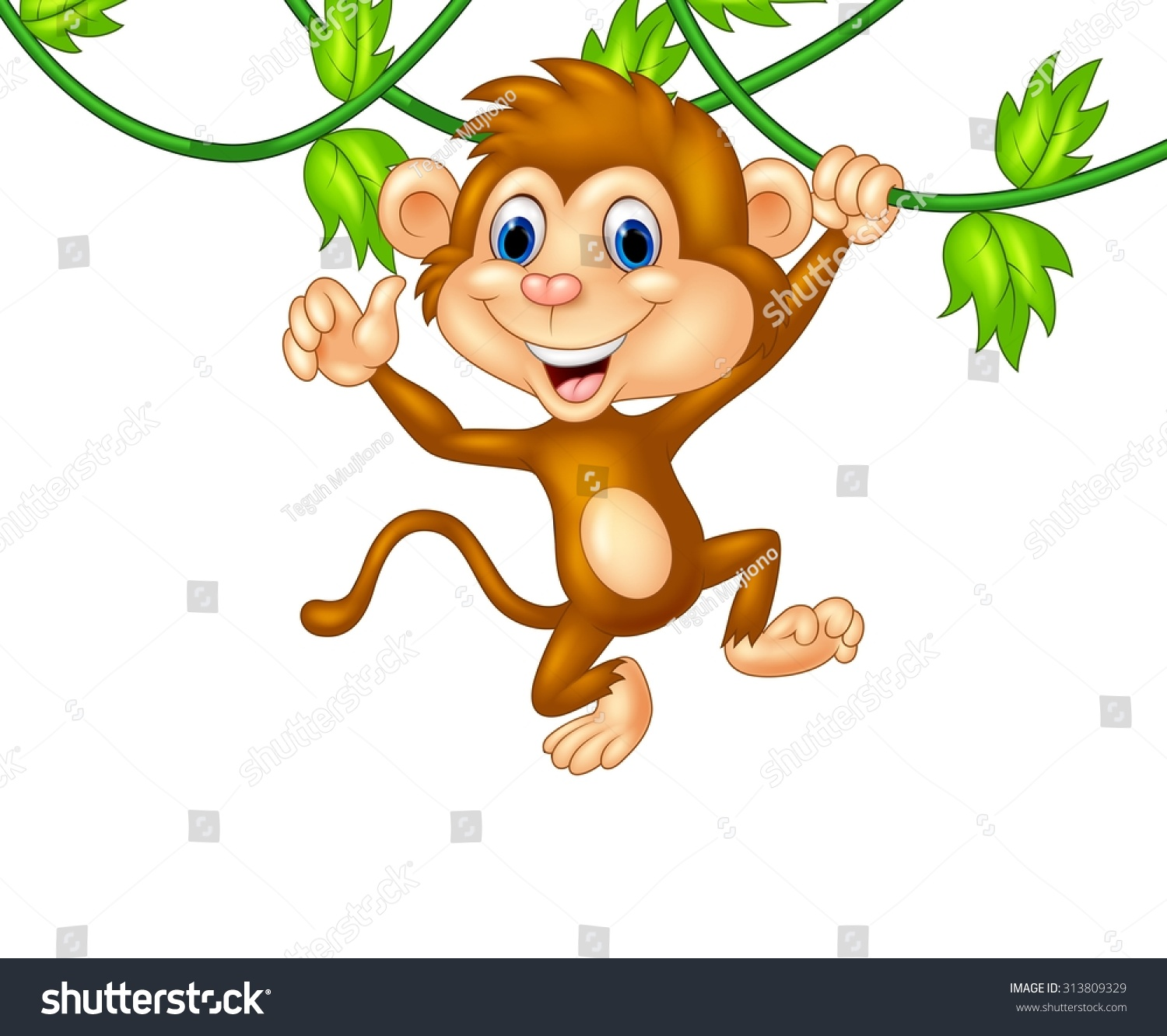 cartoon monkey hanging giving thumbs up stock vector 313809329