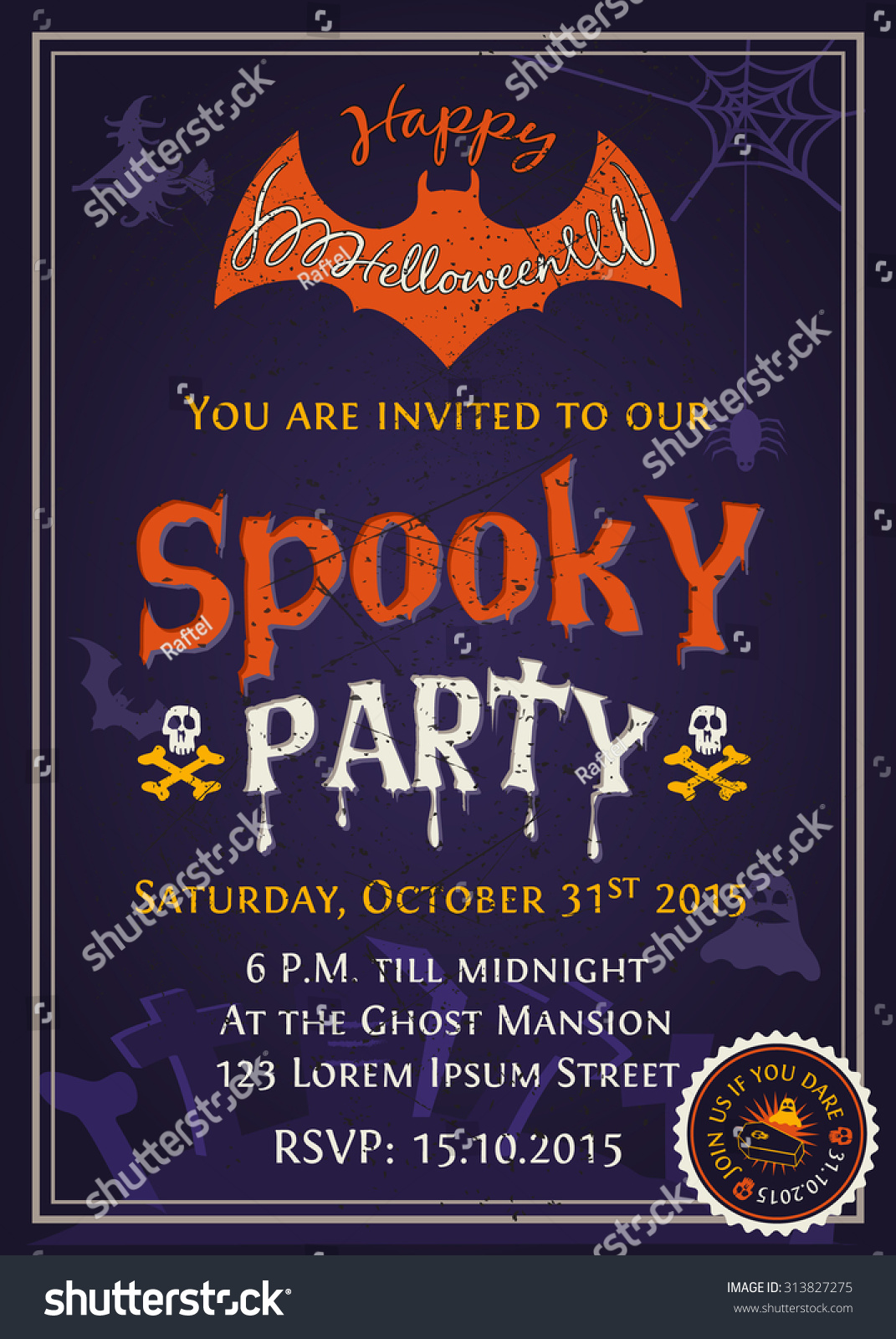 Spooky Halloween Party Invitation Card Design With Scary Typography On Purple Tone Background Vector Illustration