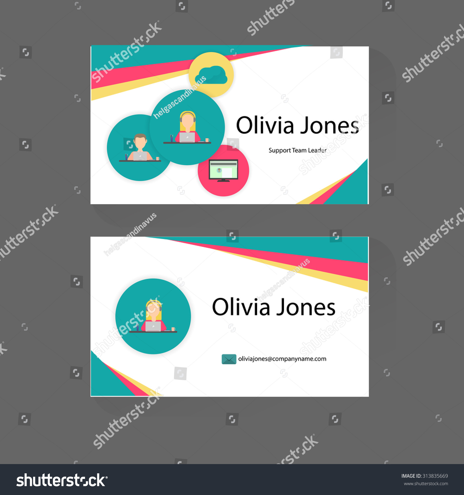 Business Card Trendy Flat Design Icons Stock Vector 313835669 ...