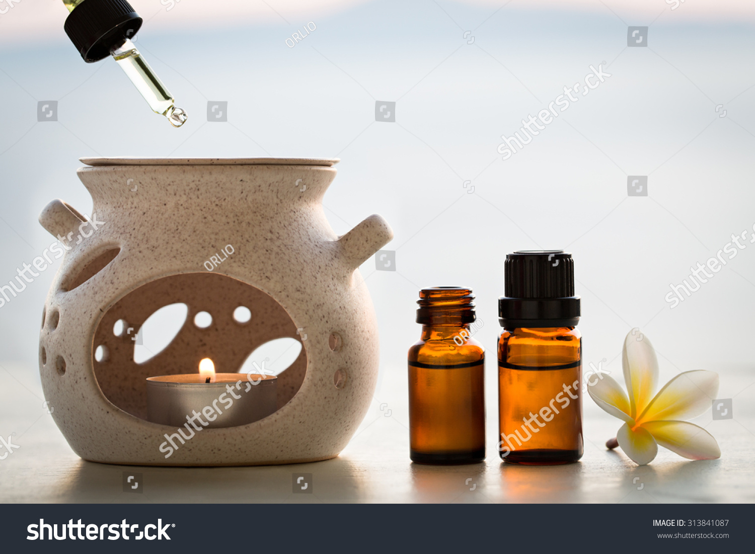 aroma lamp and aromatherapy essential oils stock photo. Black Bedroom Furniture Sets. Home Design Ideas