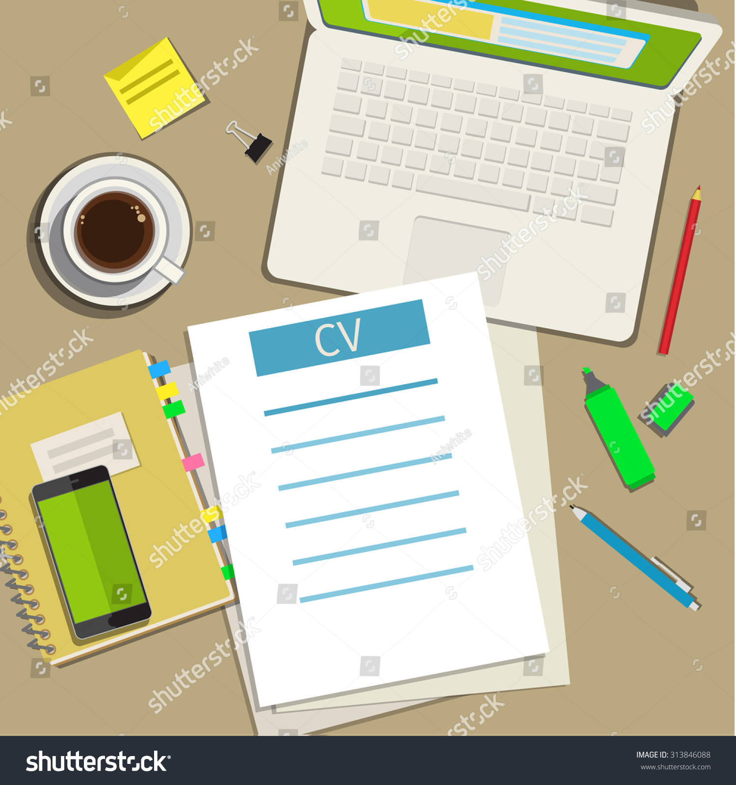 Writing Business Cv Resume Concept Flat Stock Vector 313846088