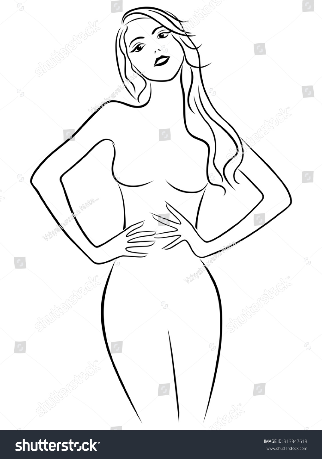 It is an image of Gratifying Hands On Hips Pose Drawing