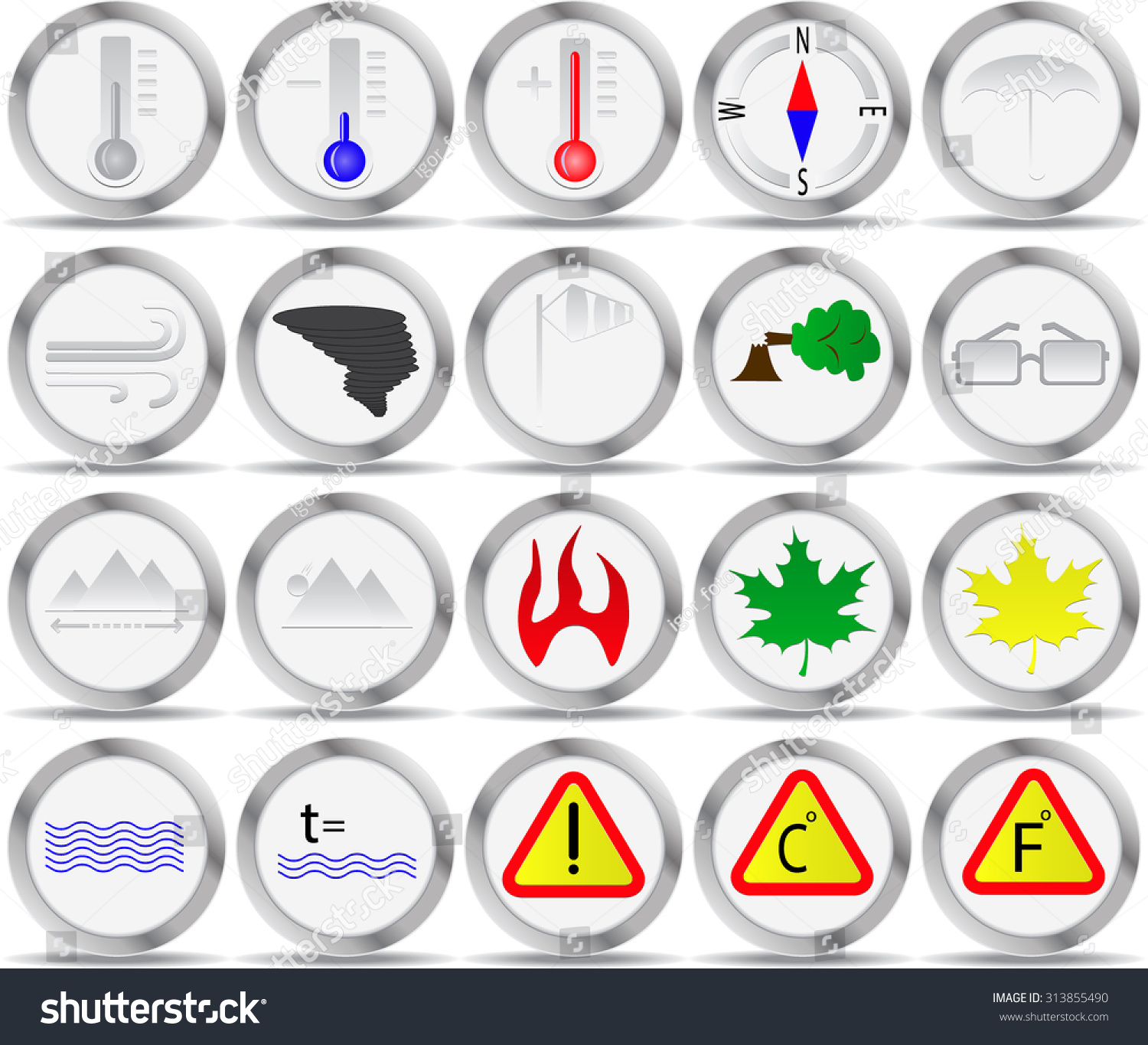 20 icons weather signs circle temperature stock vector 313855490 20 icons for weather signs in a circle the temperature frost heat buycottarizona Images