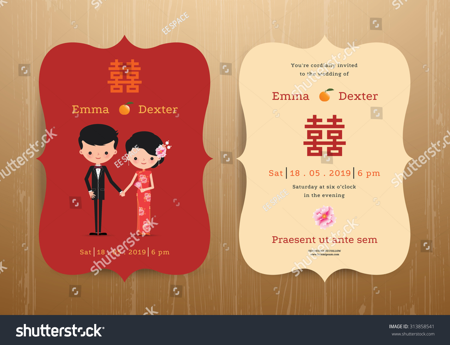 Wedding Invitation Card Chinese Cartoon Bride Stock Vector (Royalty ...