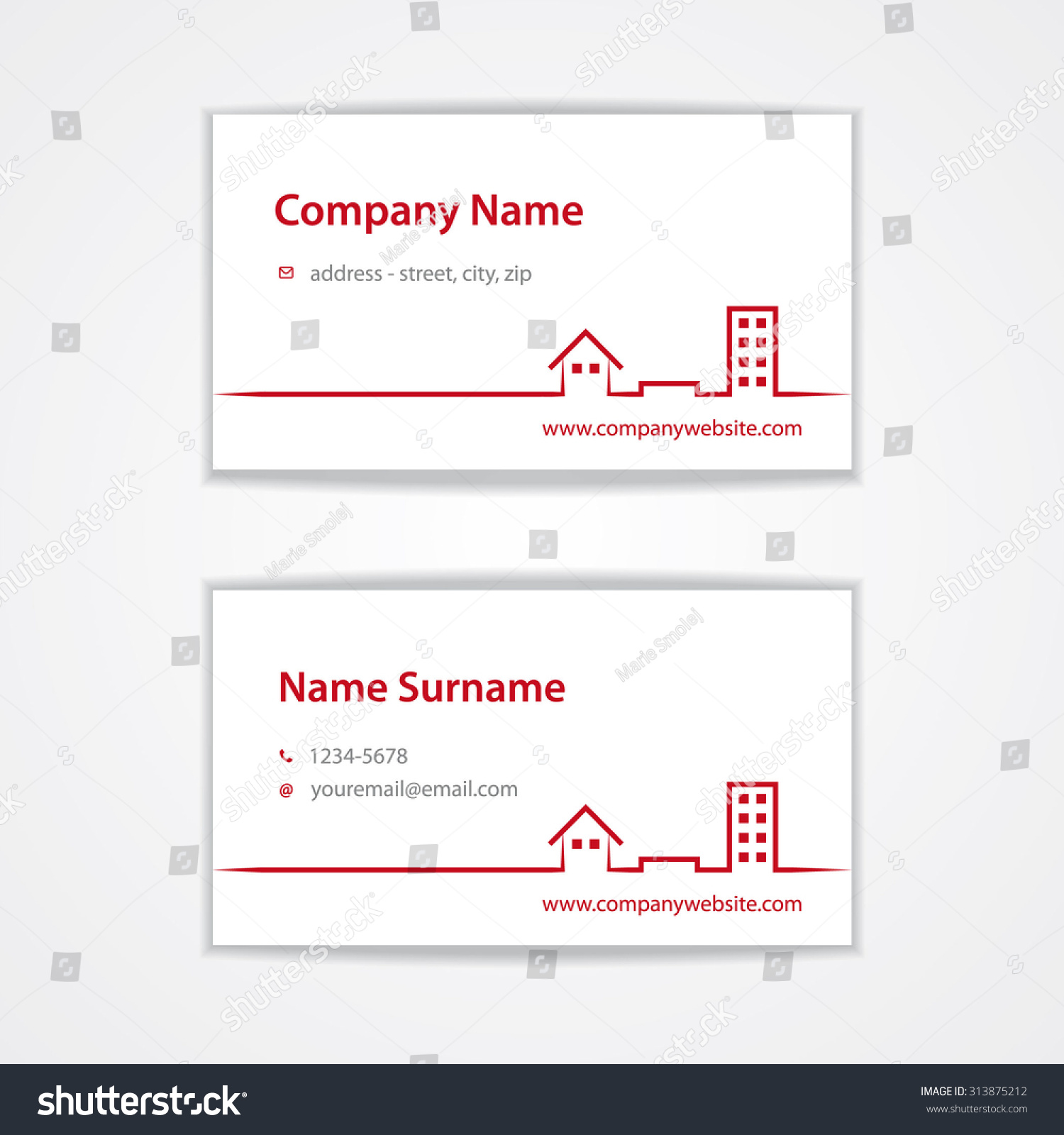 Vector Red Modern Visiting Business Card Stock Vector Royalty Free