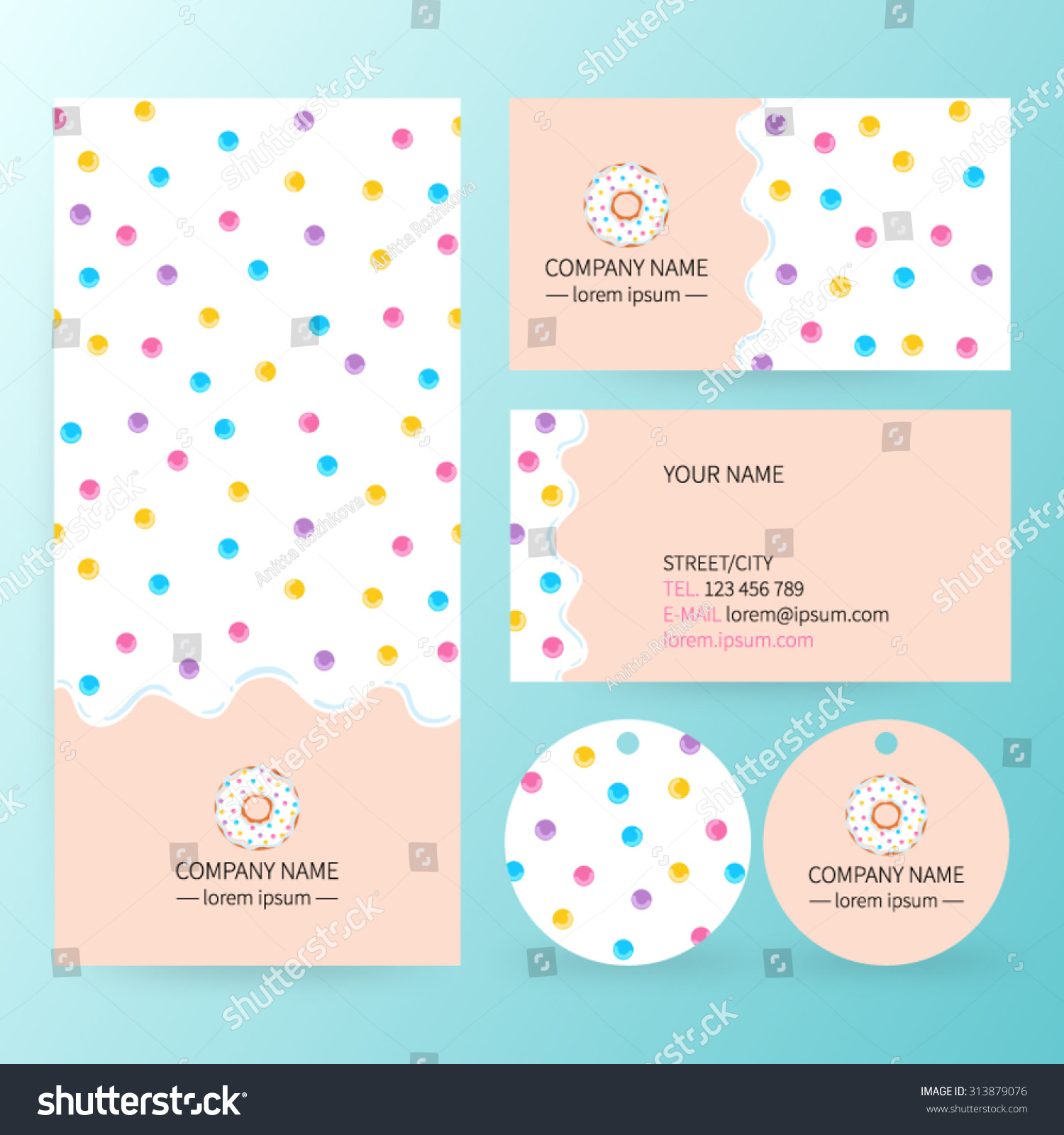 Sweet Corporate Identity Template Design Set Stock Vector Royalty