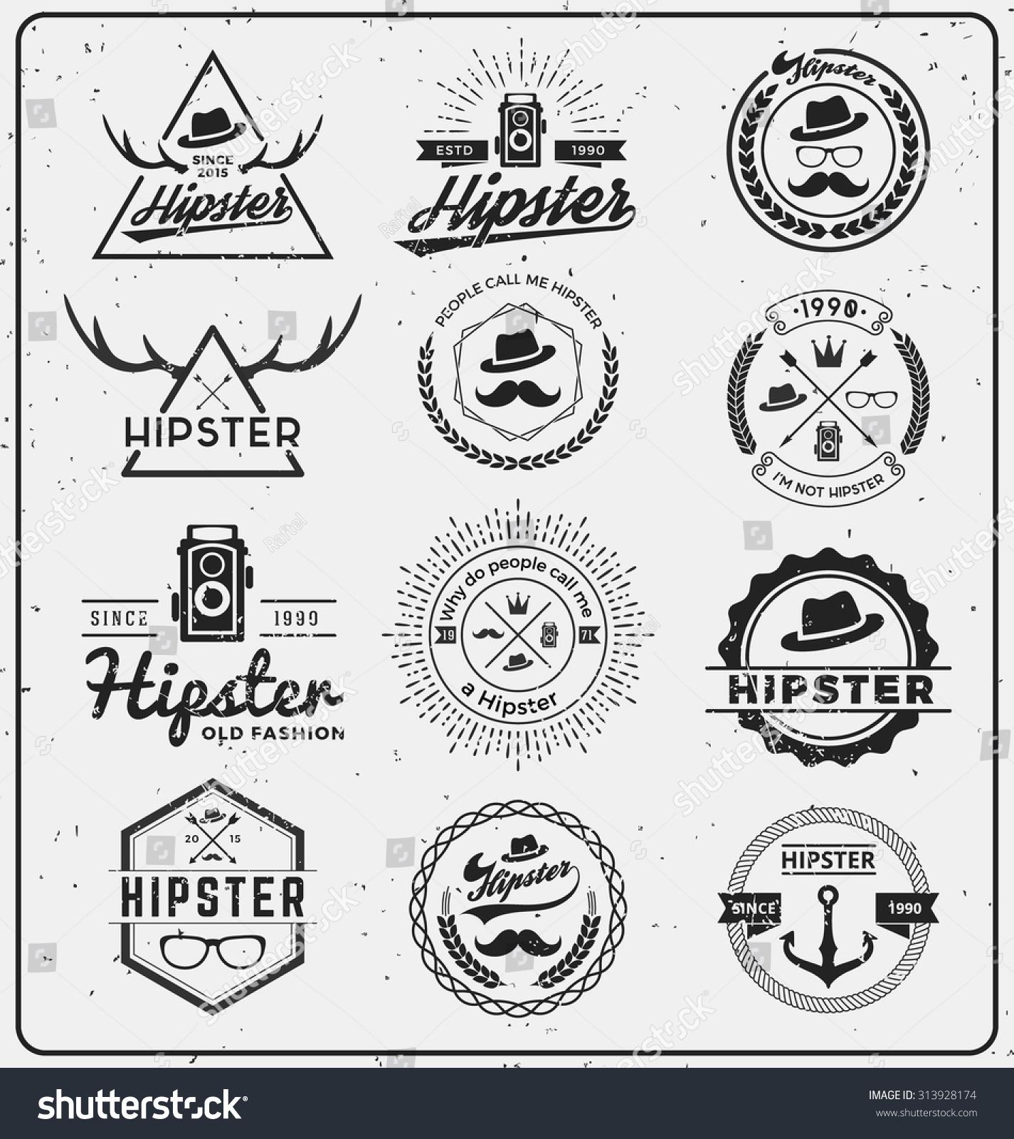 Set Hipster Insignia Logo Design Logo Stock Vector