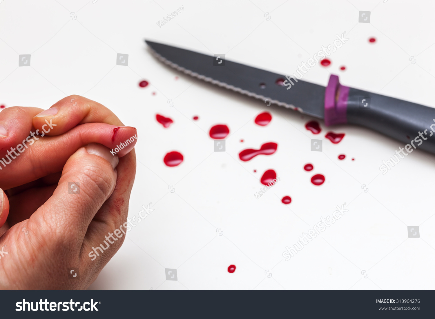 Cut Finger While Cooking Hand Knife Stock Photo (Royalty Free ...