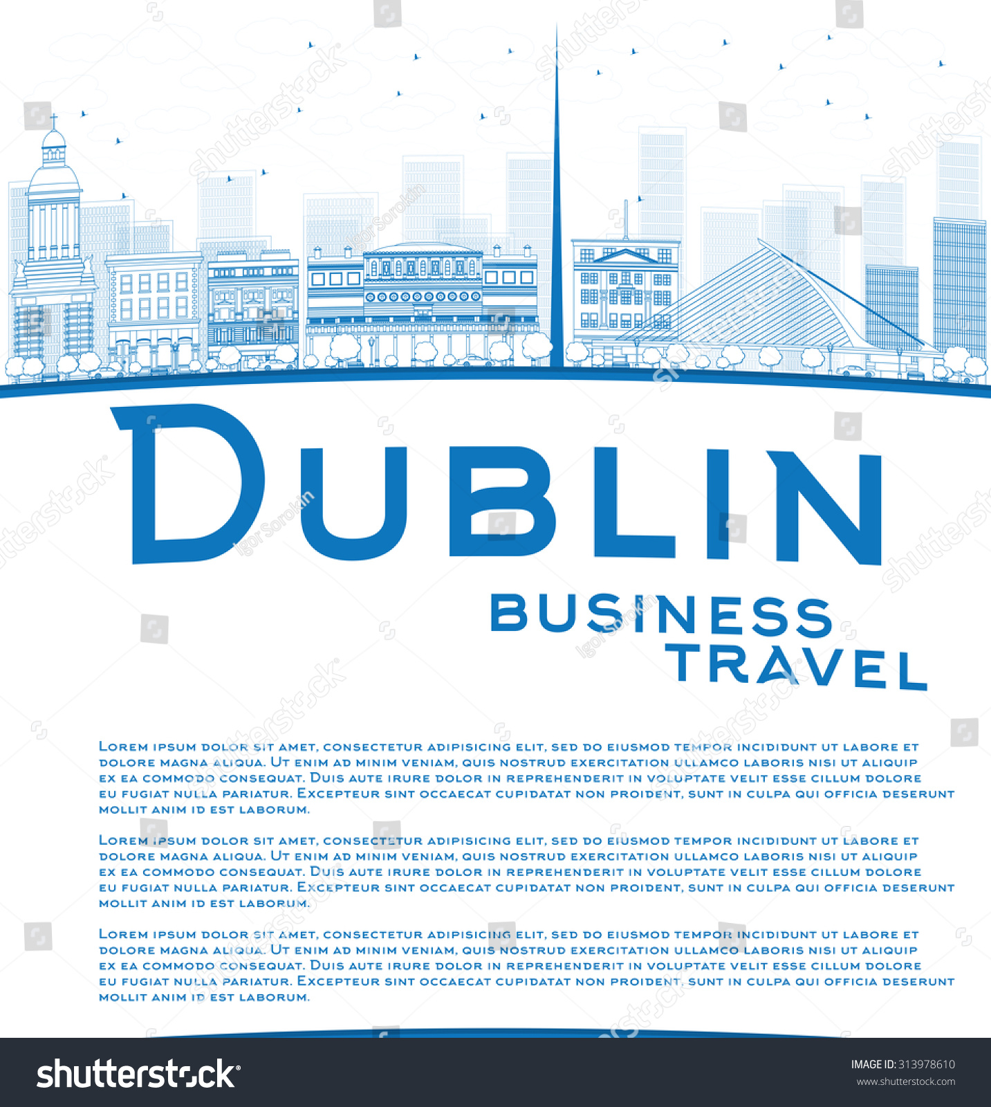 Outline Dublin Skyline With Blue Buildings And Copy Space ...