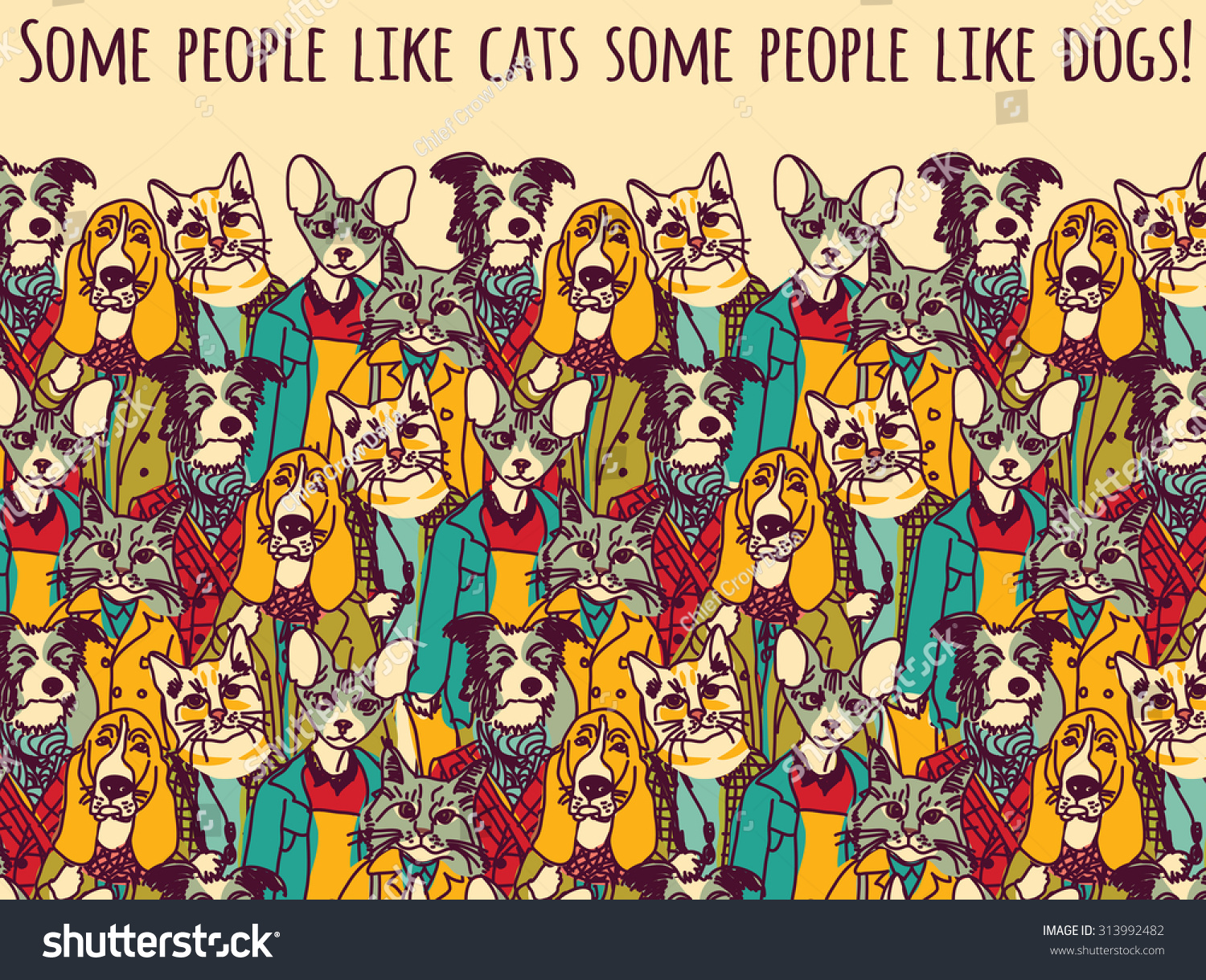 Color cats like - People Like Cats And Dogs With Sign Color Crowd Of Pets Looking Like People With