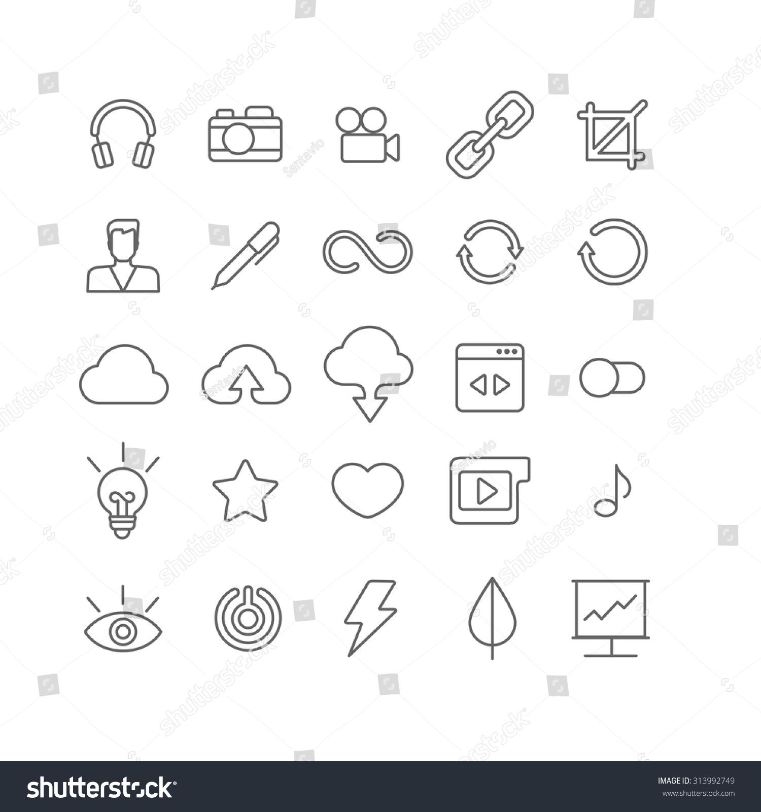 Line Art App : Line art style flat graphical set stock vector