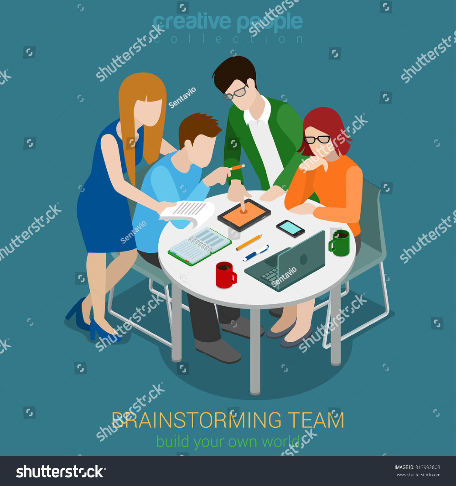 Brainstorming Creative Team People Flat 3d Stock Vector ...