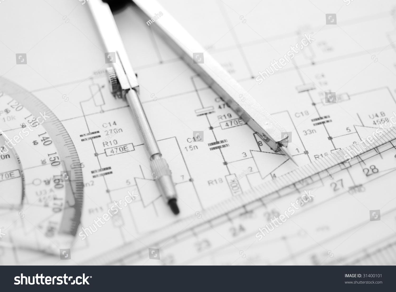 Engineering Diagram Blueprint Paper Drafting Project Sketch Diagrams Architecturalselective Focus Ez Canvas